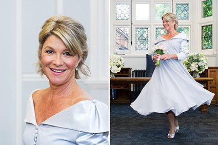 A bride at Mayfair Library showing the full extent of her full skirt by twirling
