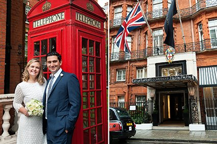 A bride and groom after their London register office wedding in front of a red telephone box and an external photo of Claridges where they had their lunch reception