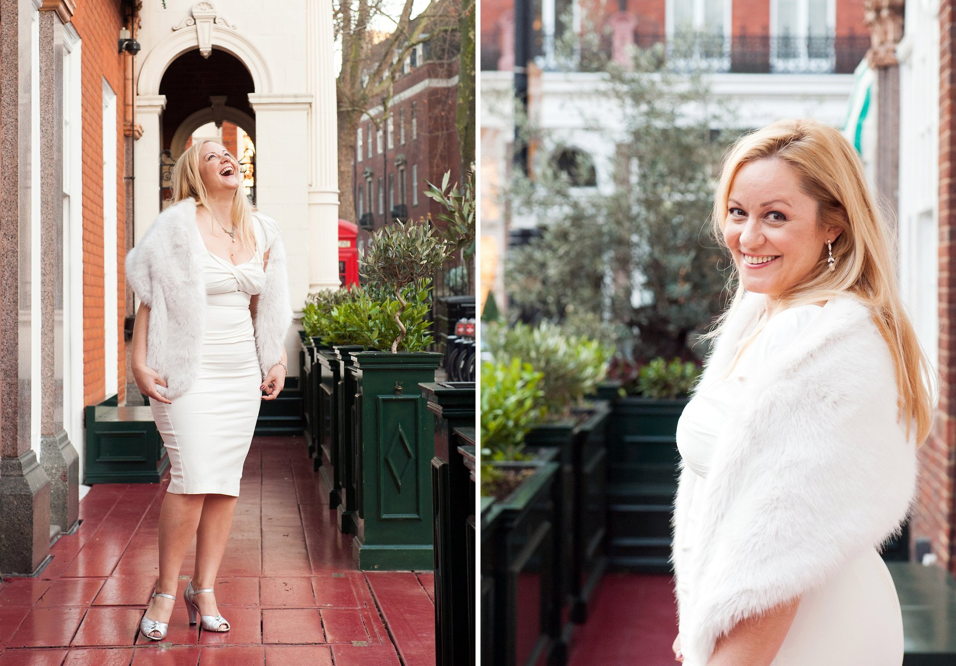 A bride outside Mayfair Library in December just before her Westminster Registry Office wedding