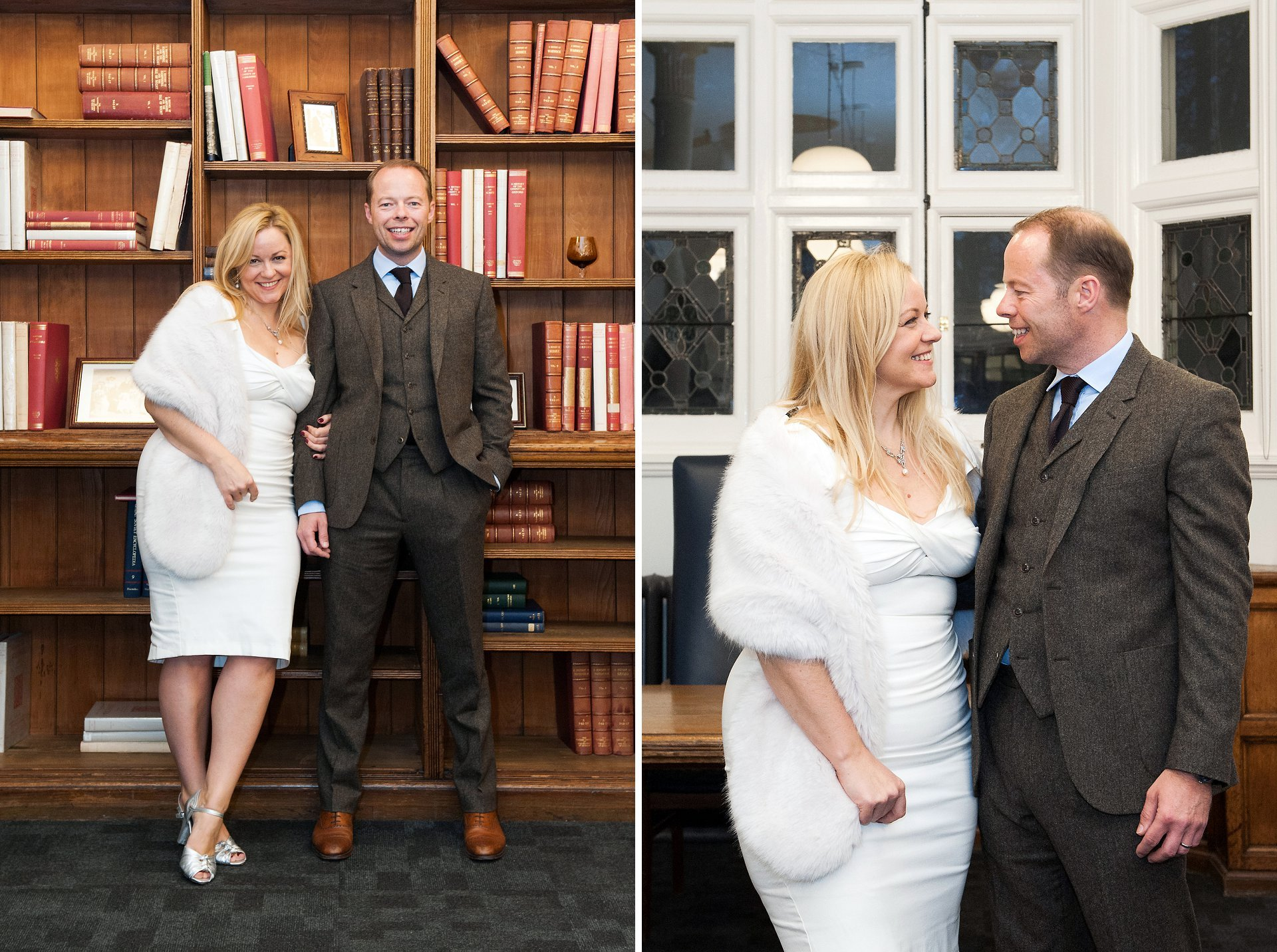 Westminster Register Office Christmas wedding photographer Emma Duggan captures natural and relaxed wedding photographs at Mayfair Library here a bride and groom after their civil marriage ceremony
