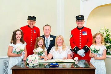 Chelsea Pensioners act as wedding witnesses at Chelsea Old Town Hall.