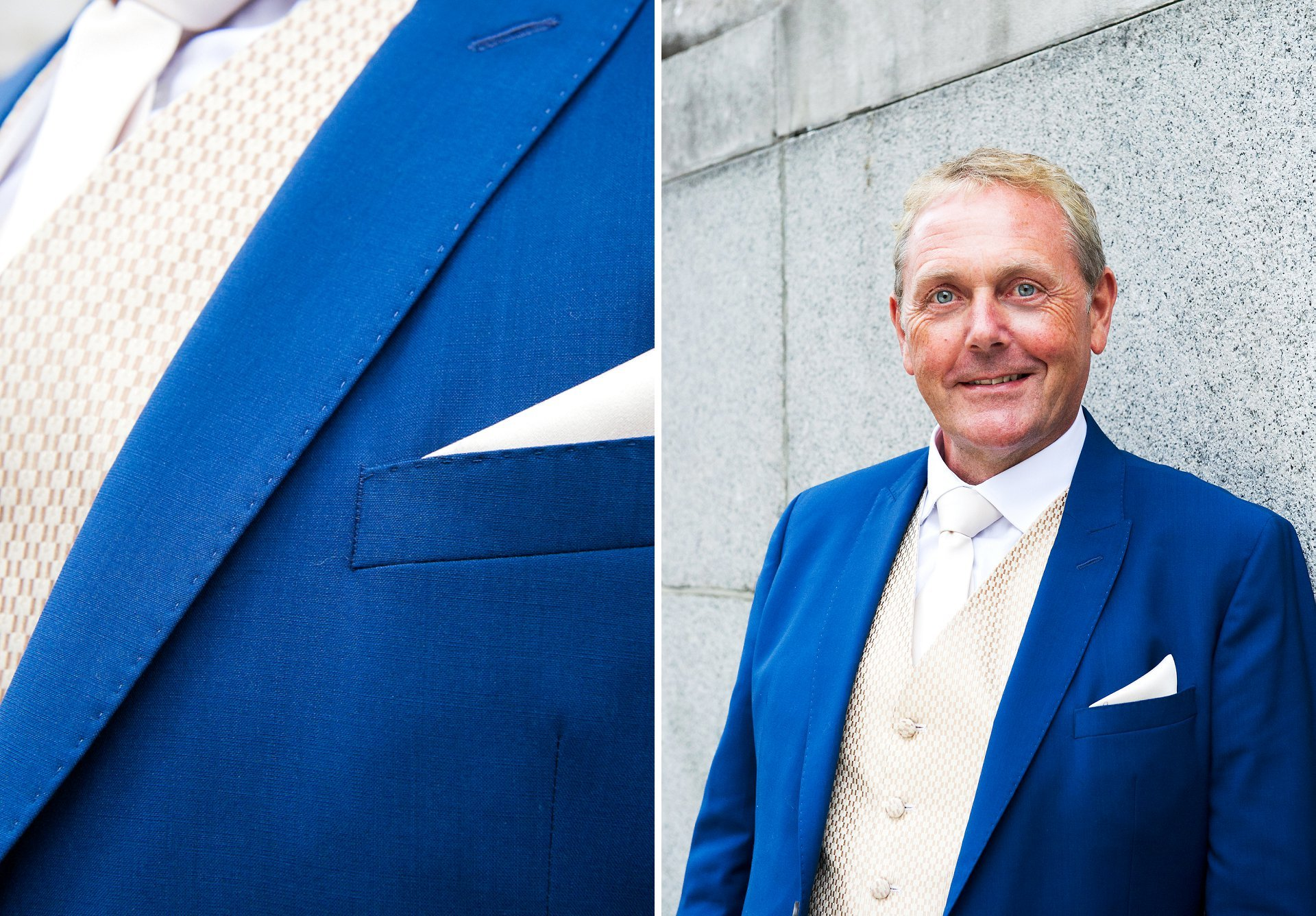 blue suit wedding chelsea for this groom outside chelsea old town hall