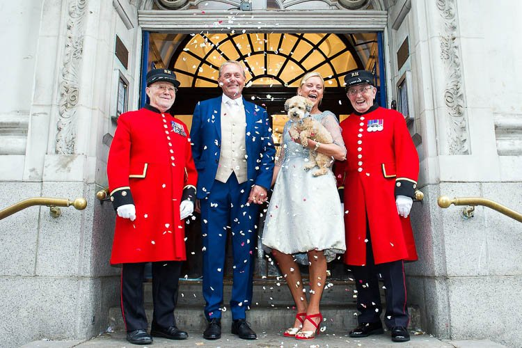 Chelsea Pensioners, confetti and your dog - all you need for a Chelsea Old Town Hall wedding.