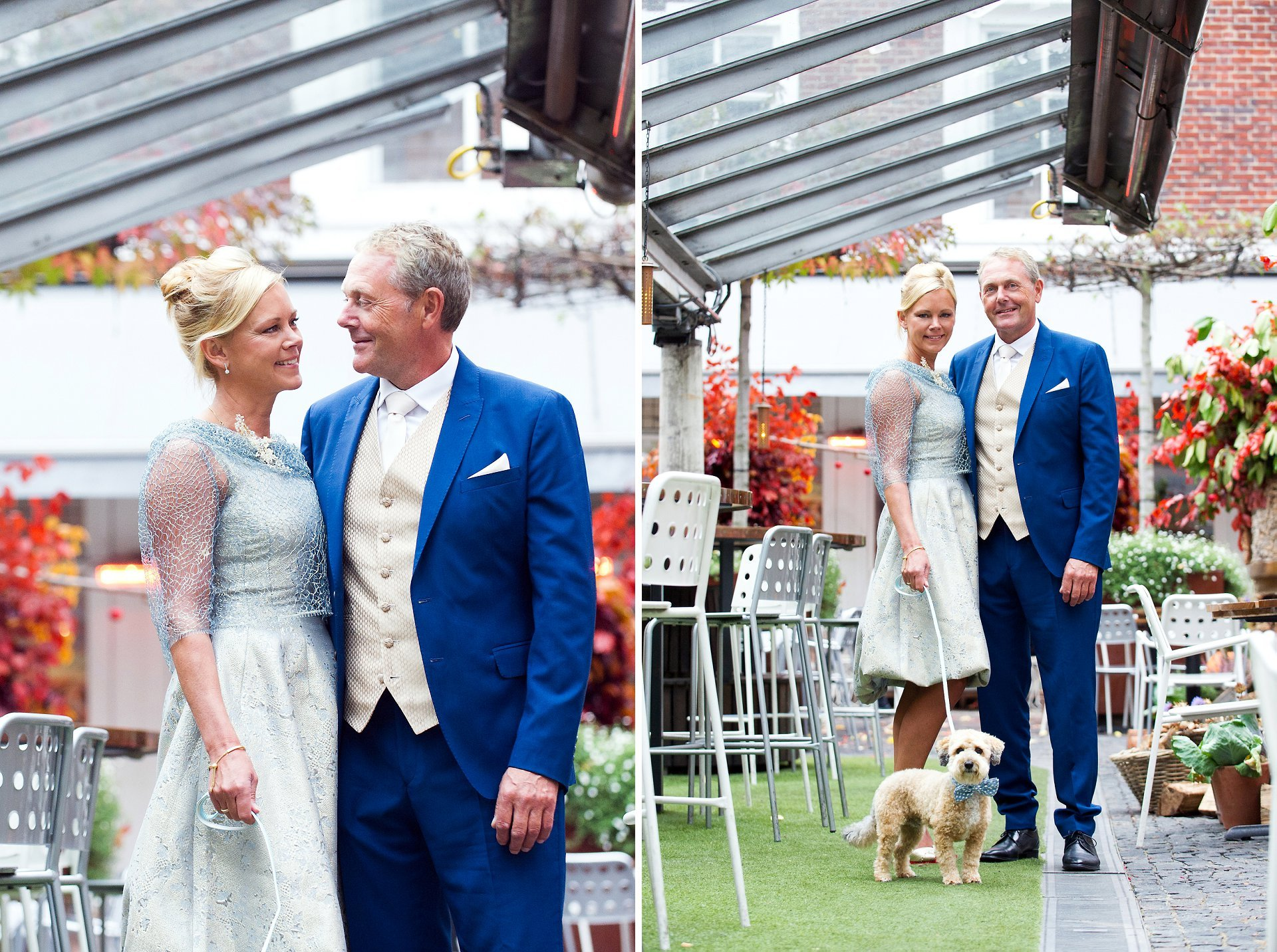 dog photographer chelsea at bluebird chelsea - a bride and groom with their jackapoo waering his smart bow tie