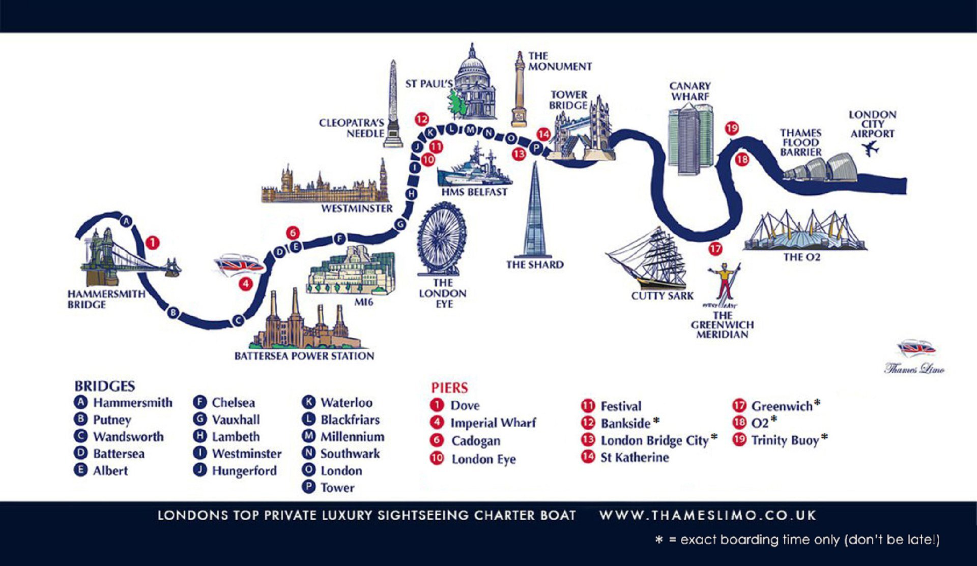 Map: Thames Limo drop off and pick up points on the River Thames for a London wedding or engagement