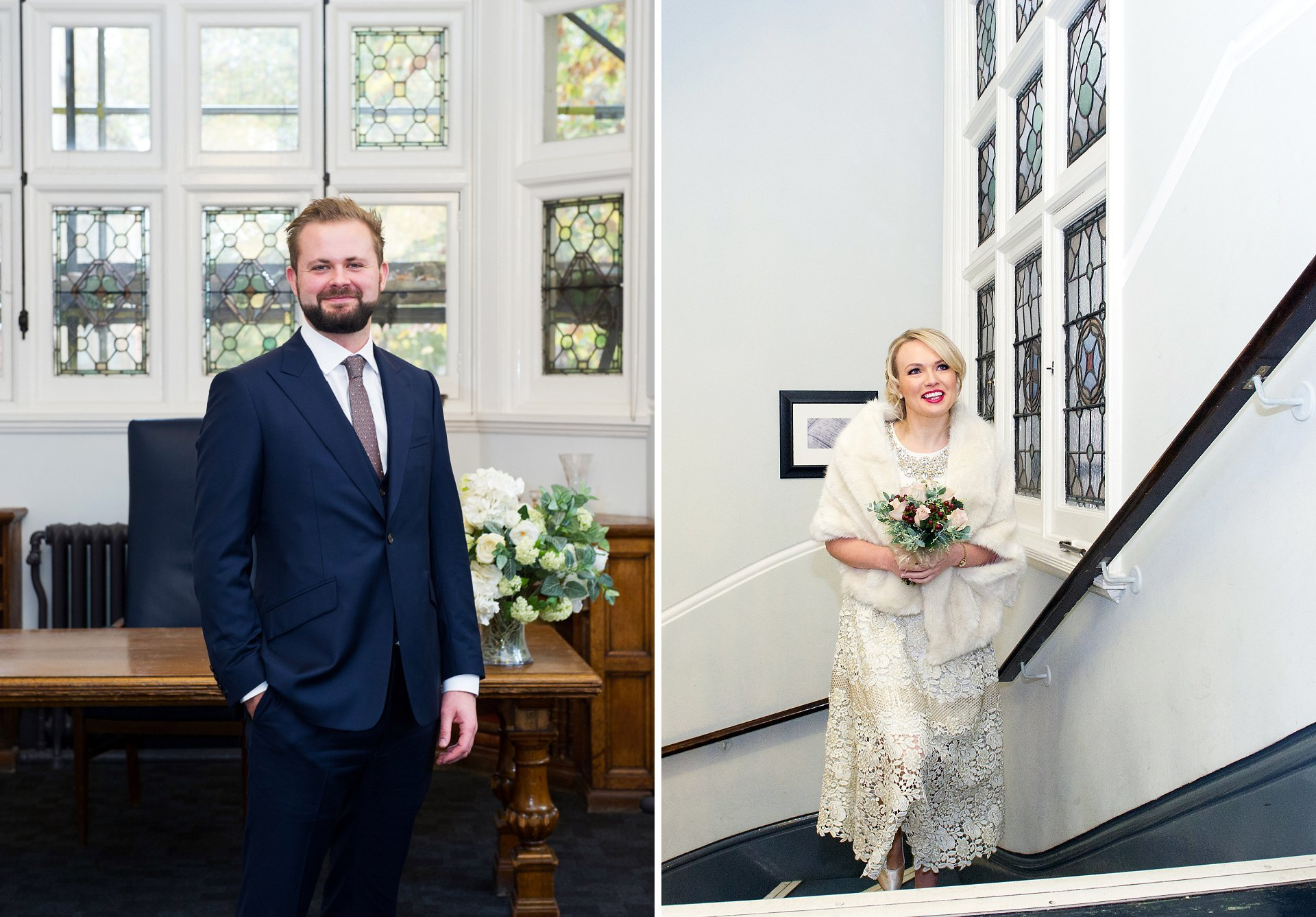 a groom in navy and a bride in vintage style wedding dress and fur stole arrive at mayfair library in westminster for their civil ceremony