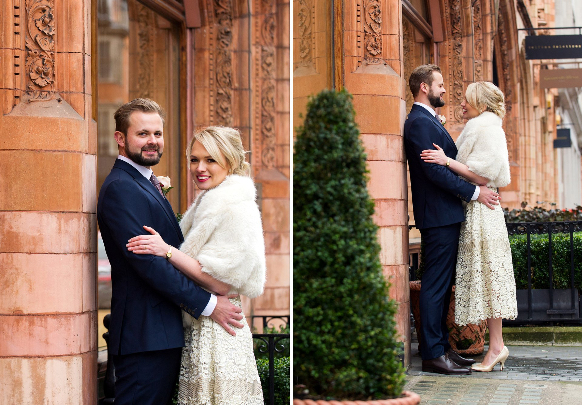 an elegant bride and groom after their intimate westminster register office wedding