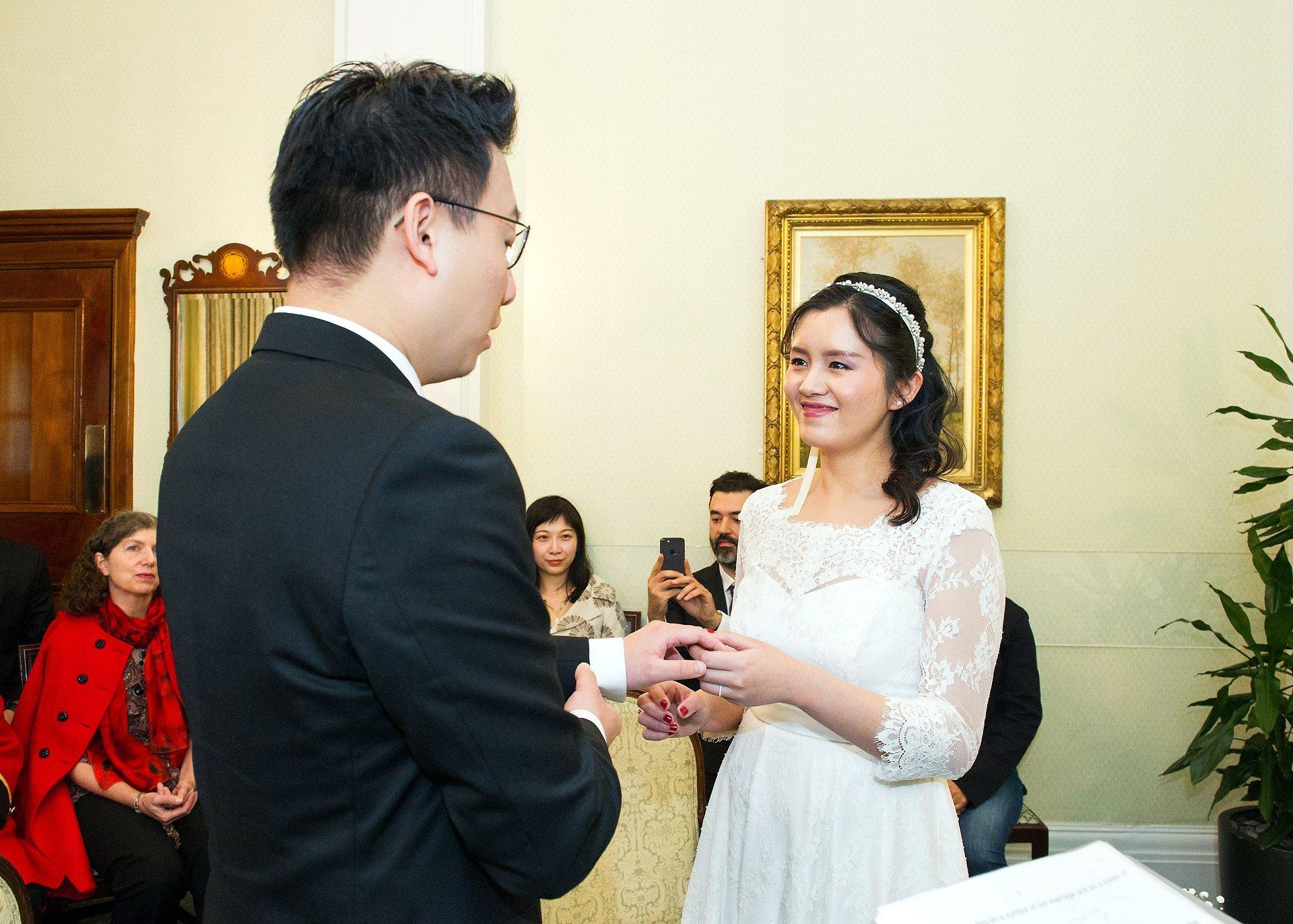 an exchange of rings in chelsea register office