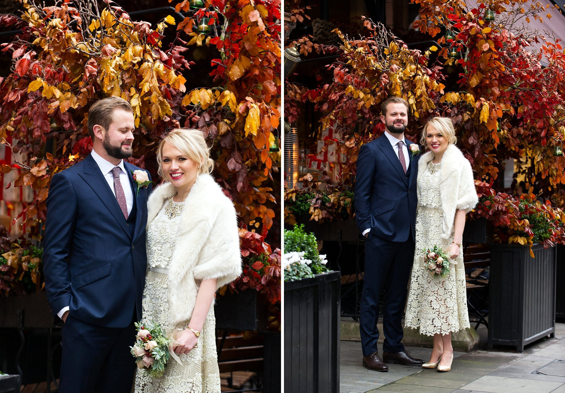 bride and groom on mount street in the heart of mayfair with lovely red autumn colours