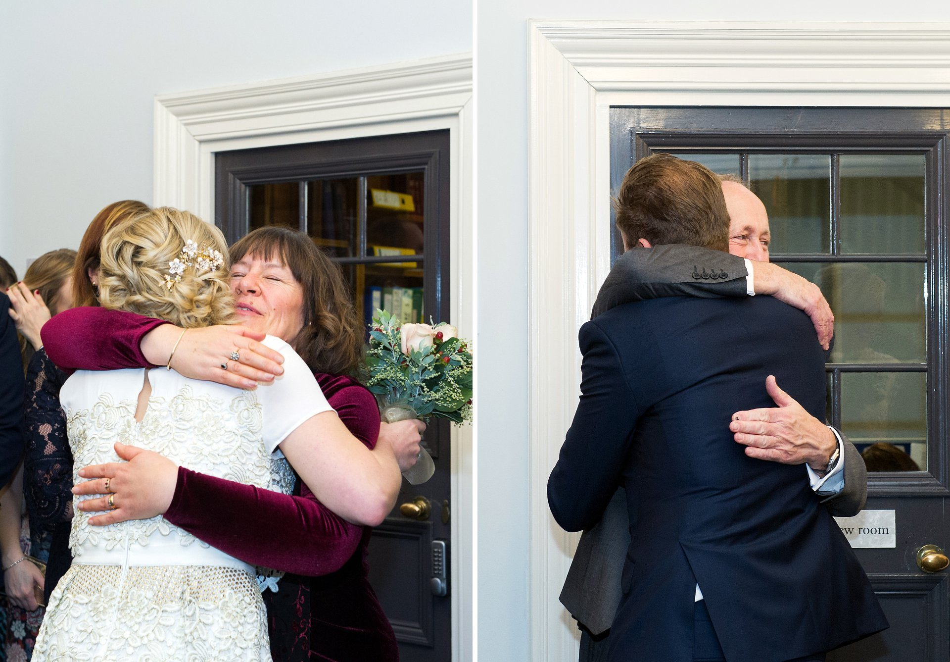 families hug their children after this mayfair wedding in the library