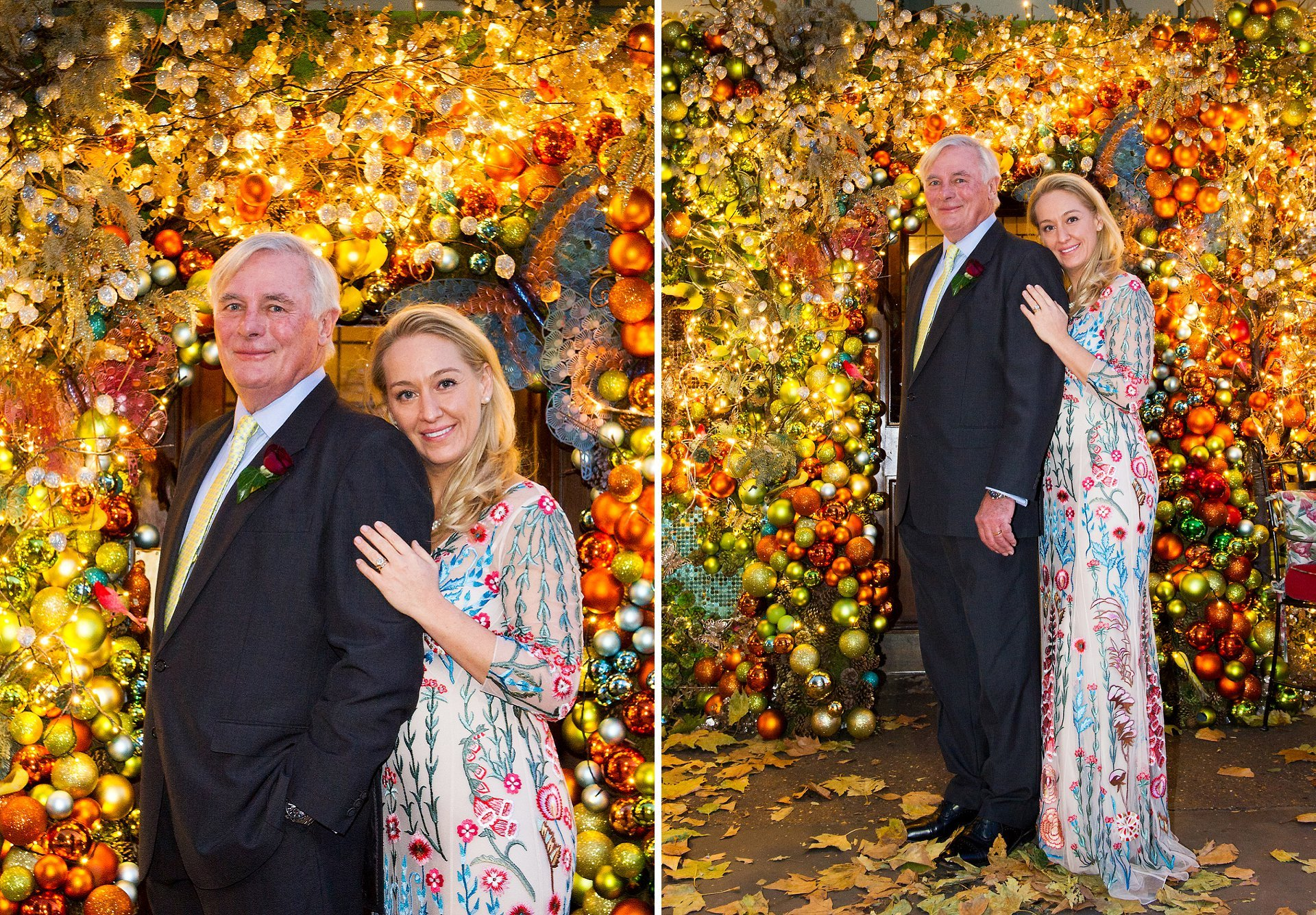 ivy chelsea garden christmas wedding with bride and groom outside on the king's road