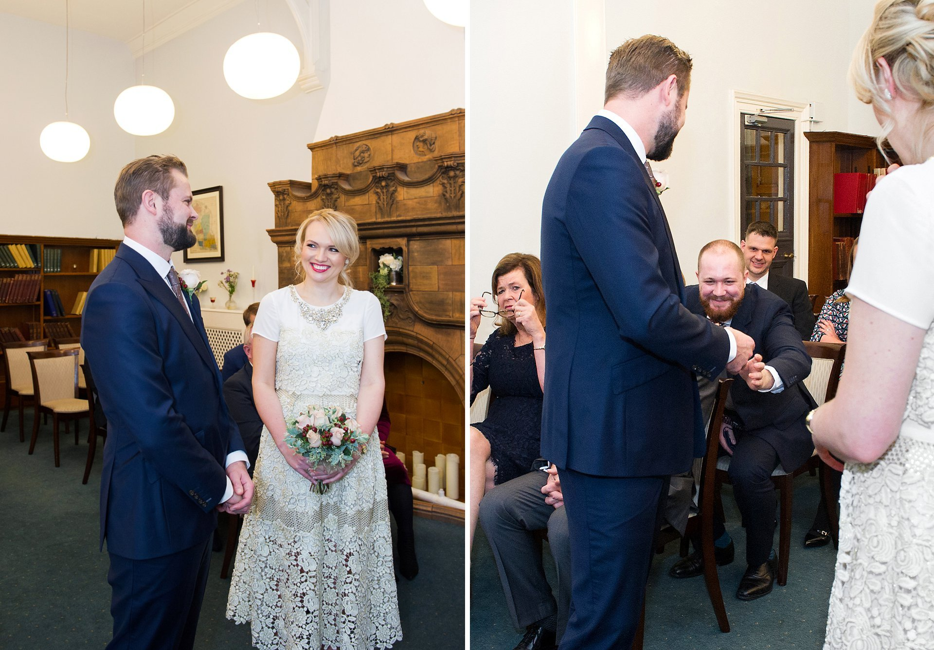 the groom's brother delivers the rings in the marylebone room