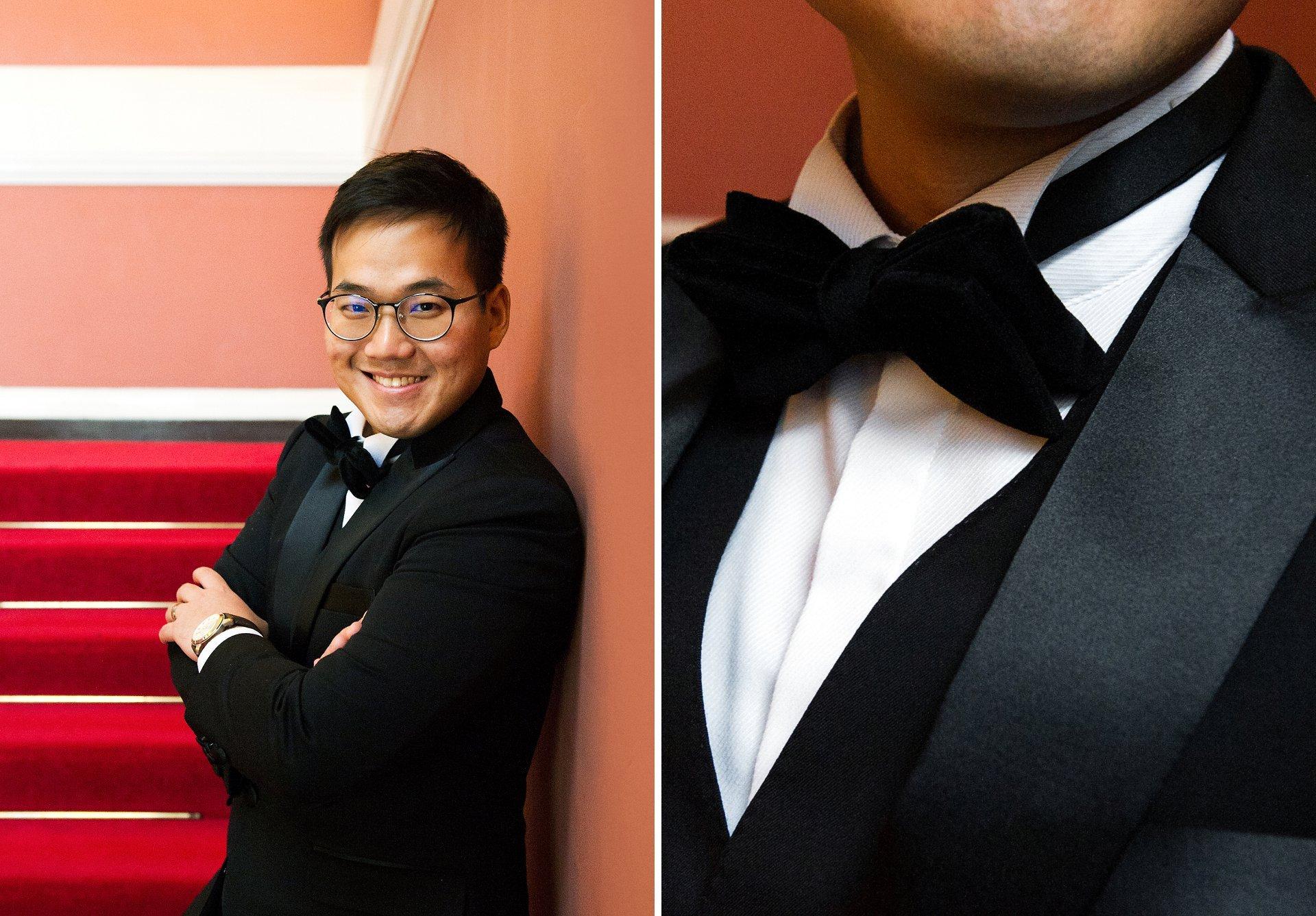 Black tie wedding groom in Chelsea Old Town Hall