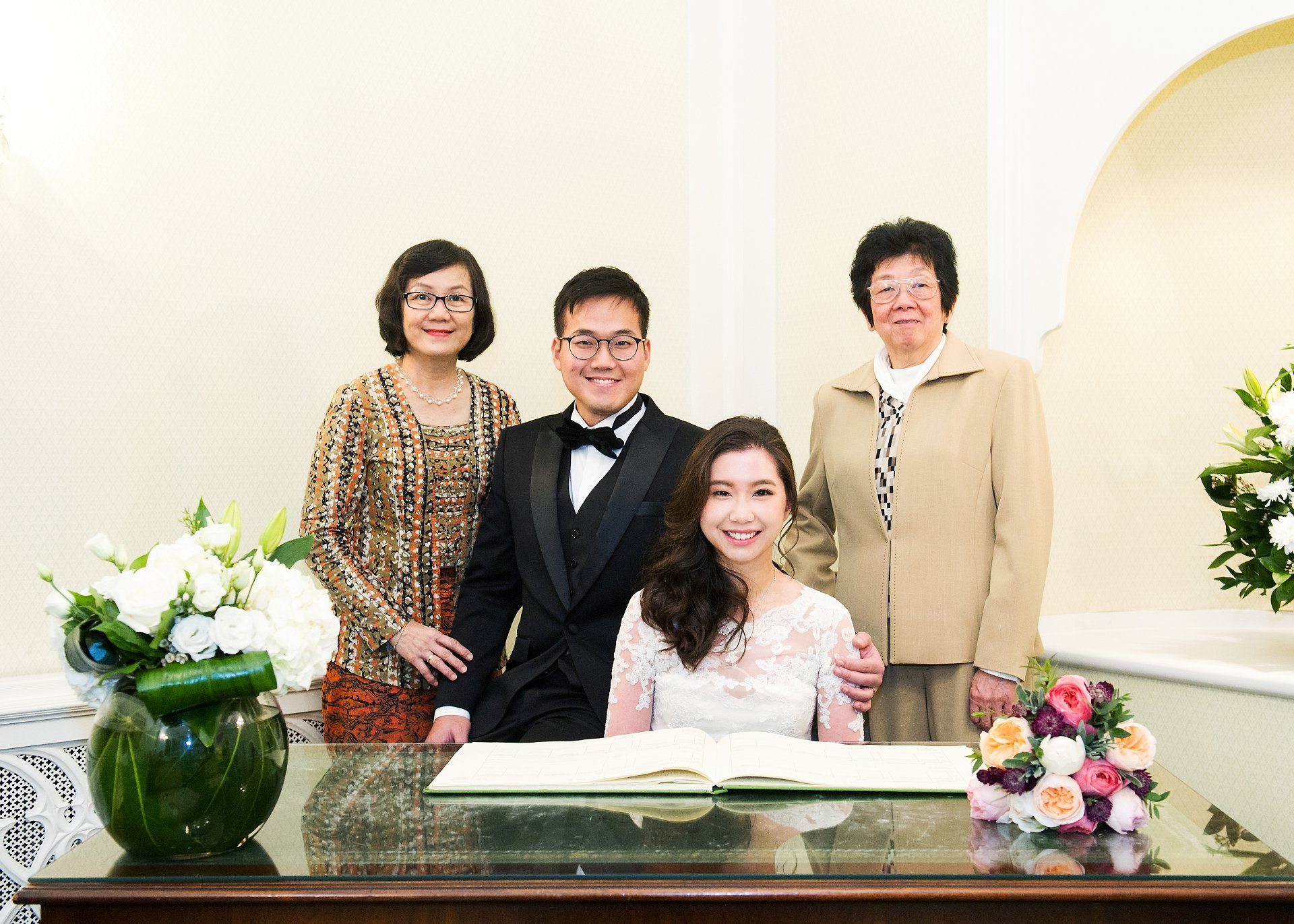 Bride and groom with mothers at Chelsea Registry Office