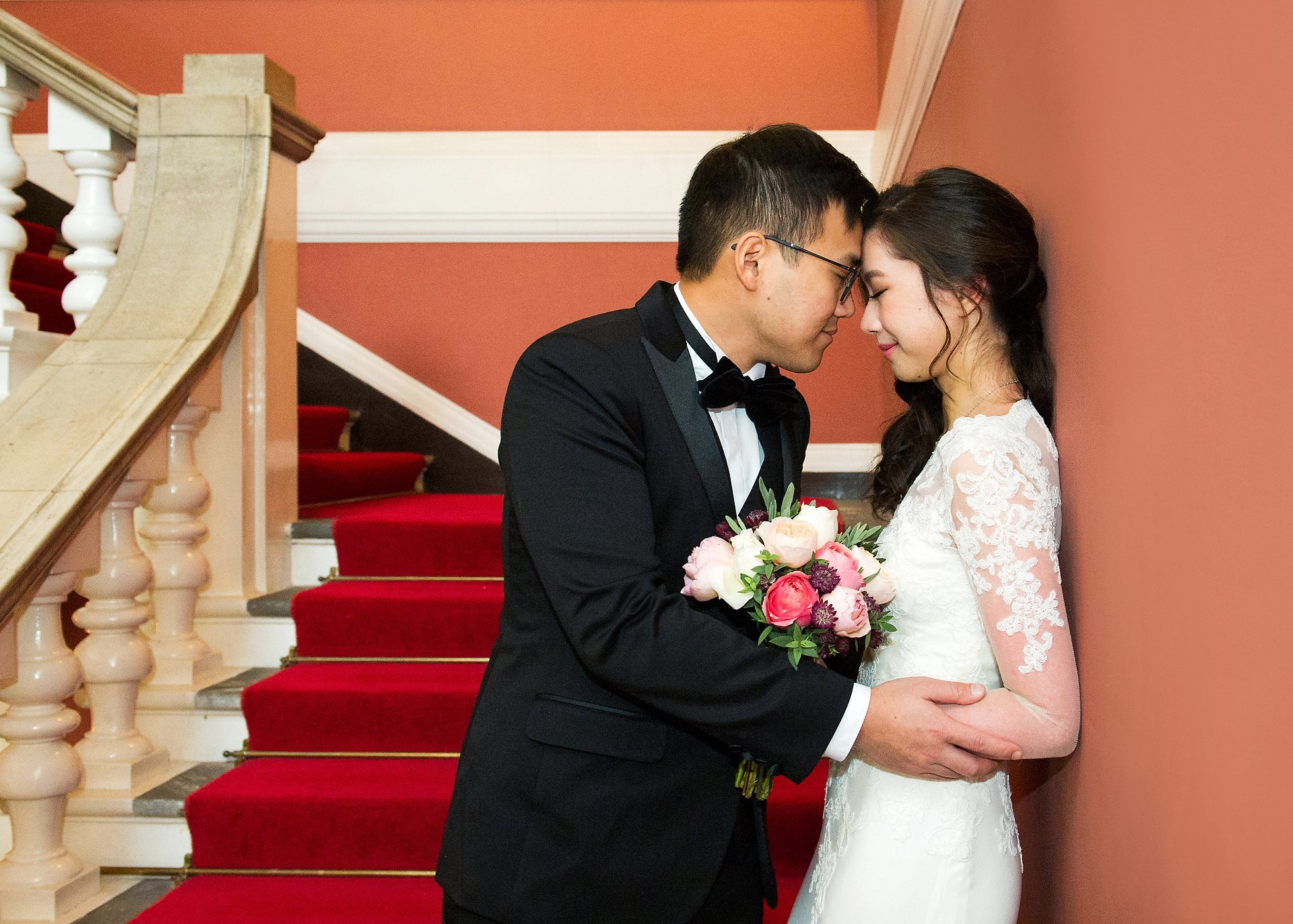 Chelsea Old Town Hall wedding photographer bride and groom having a quiet moment before their ceremony