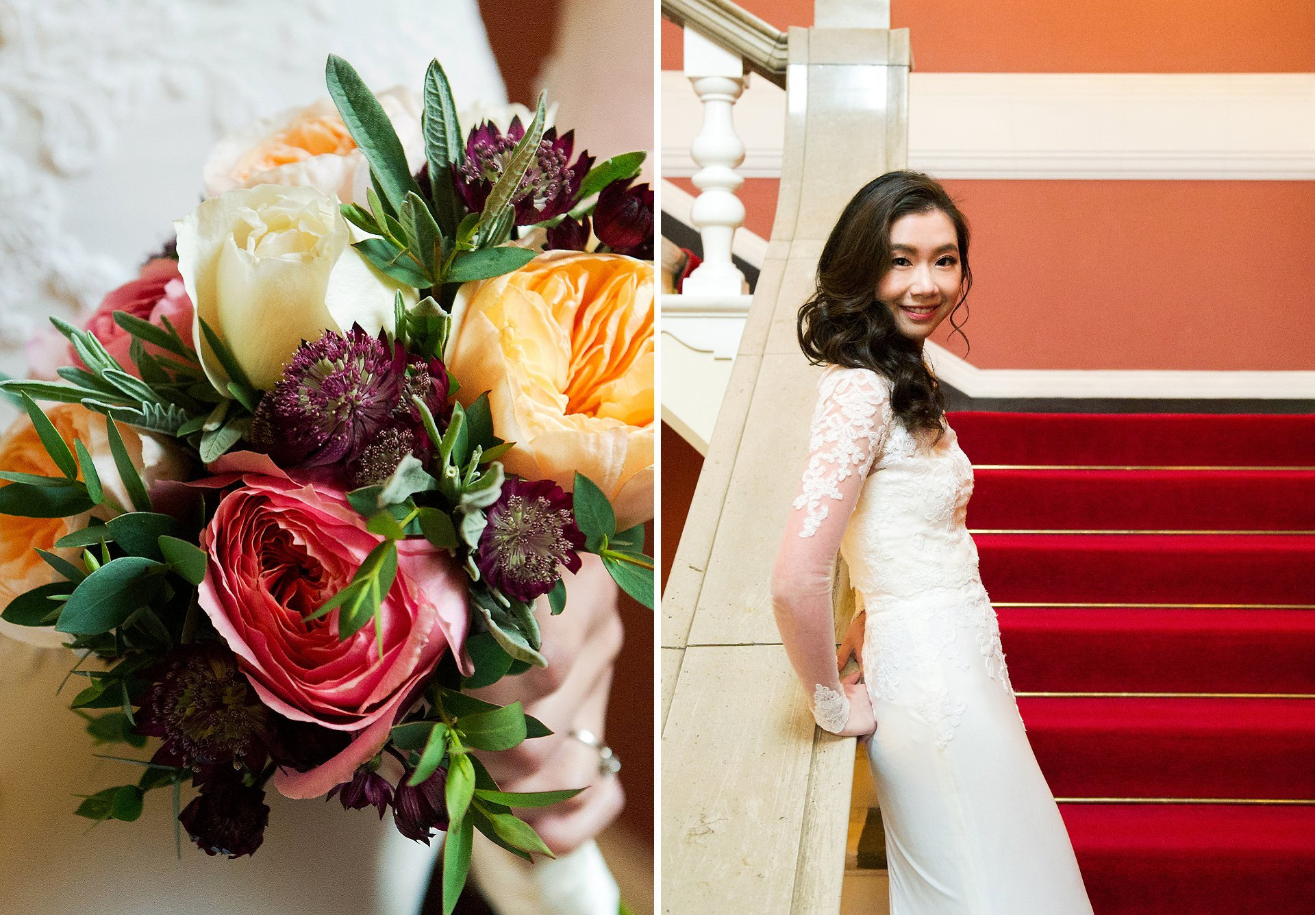 Chinese wedding Chelsea Register Office bride and bouquet before her ceremony in the Rossetti Room