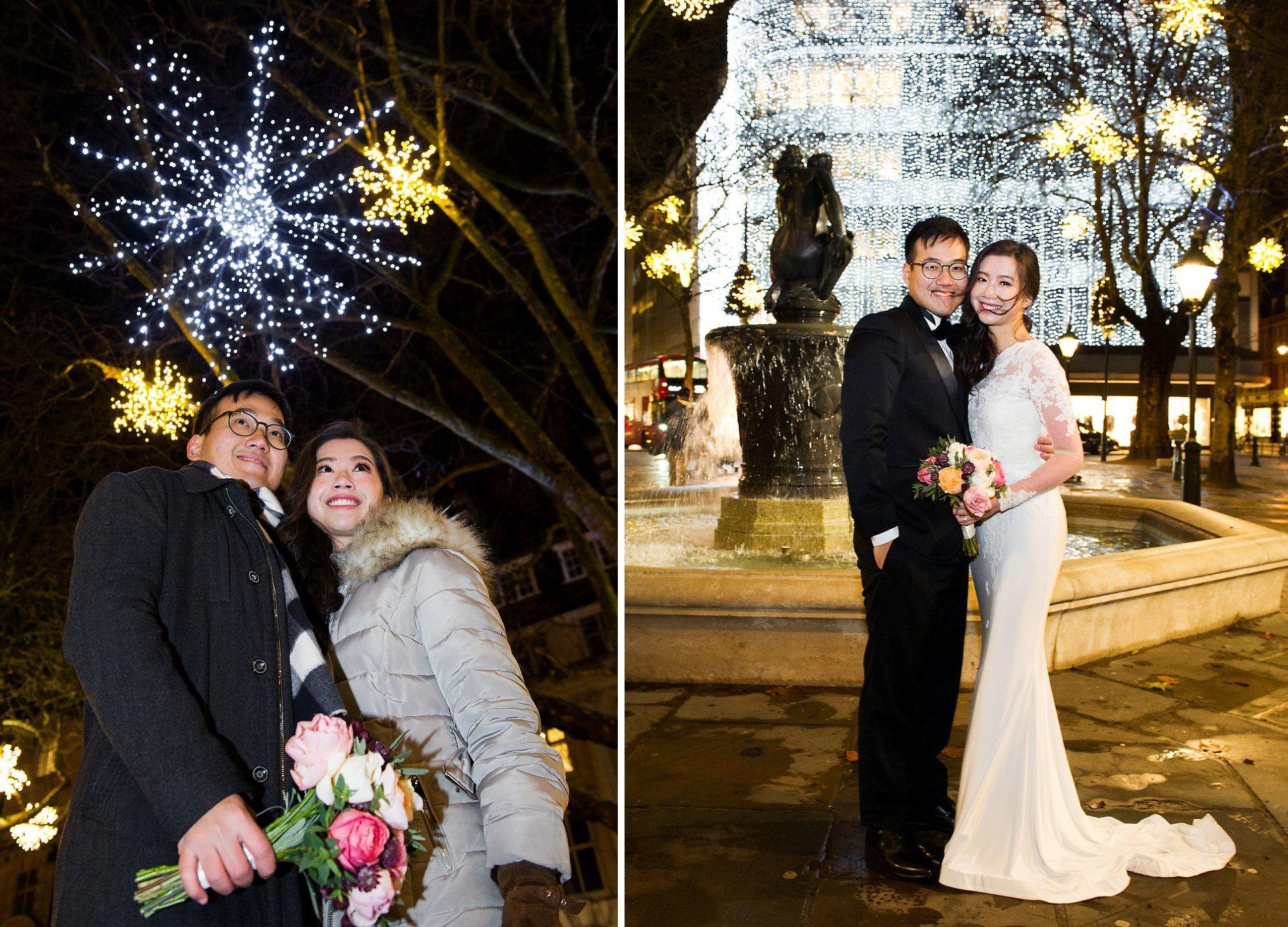 Christmas wedding reception in Mayfair using Christmas lights for couple portraits