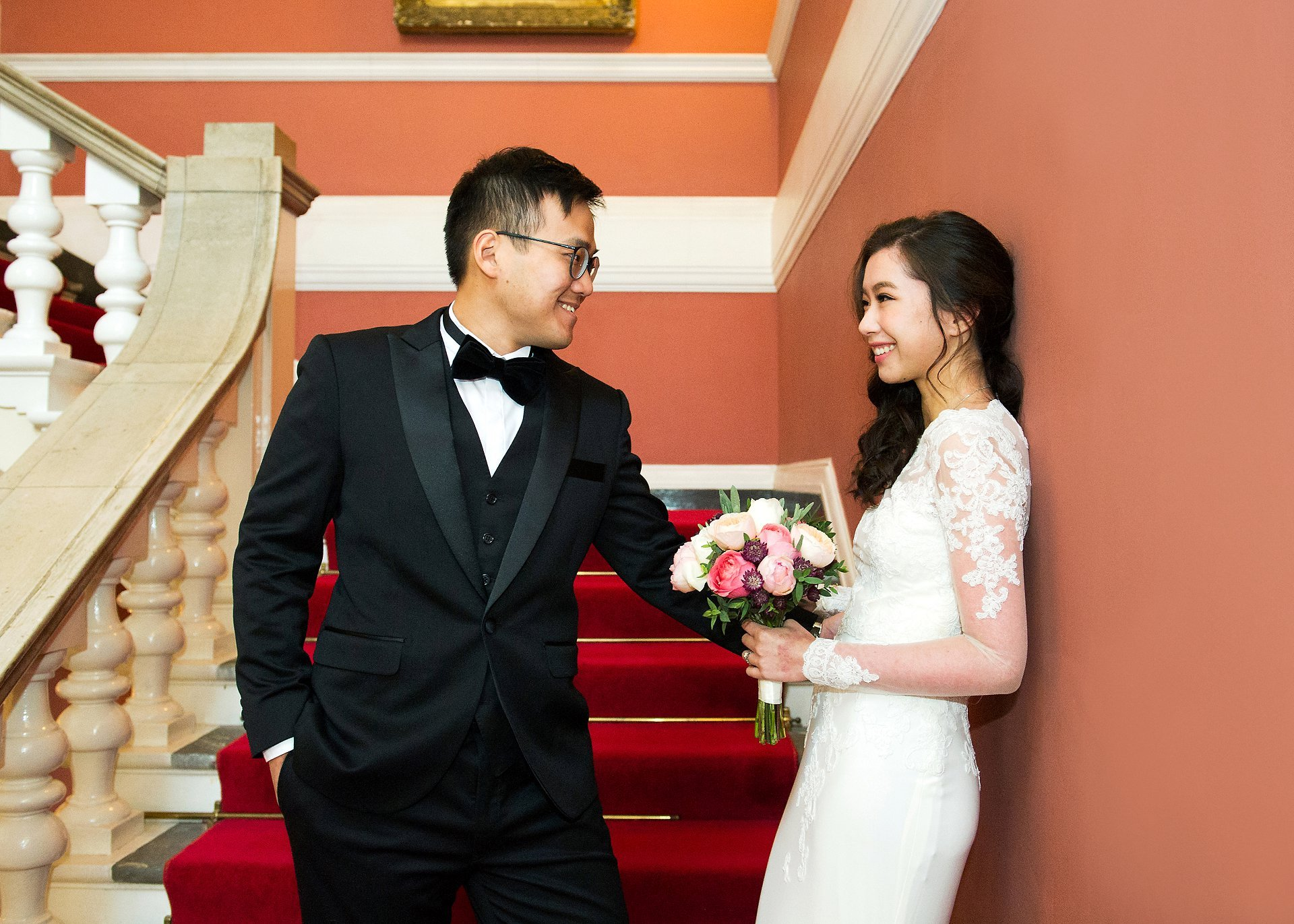 Emma Duggan Photography bride and groom Chelsea Old Town Hall staircase