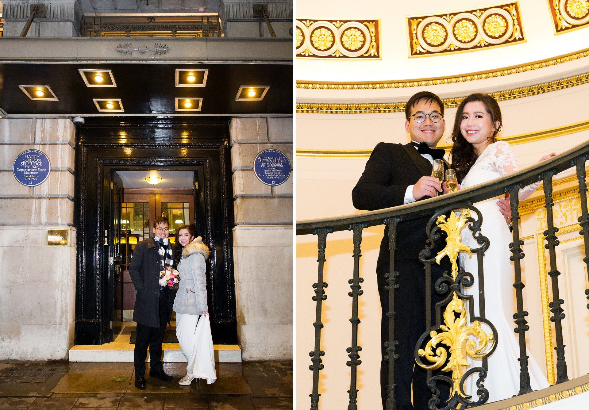 Lansdowne Club wedding photography bride and groom outside and on gallery
