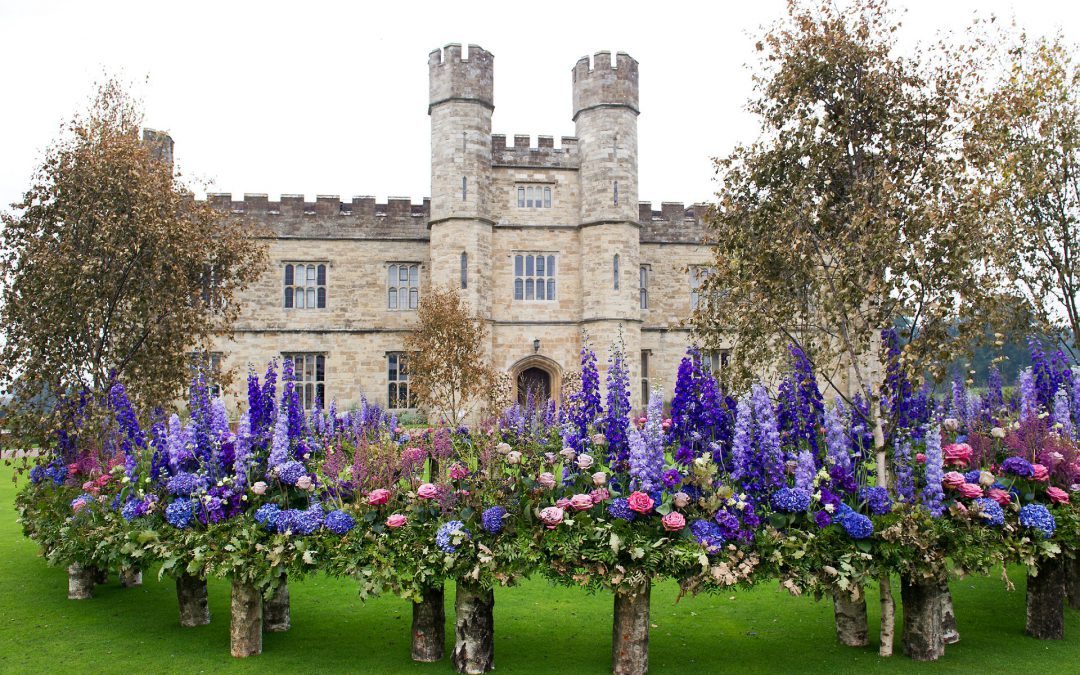 Leeds Castle Festival of Flowers Review - September 2017 and a floating garden on the front lawn by Dennis Knnepken entitled 'Once in a Blue Moon'