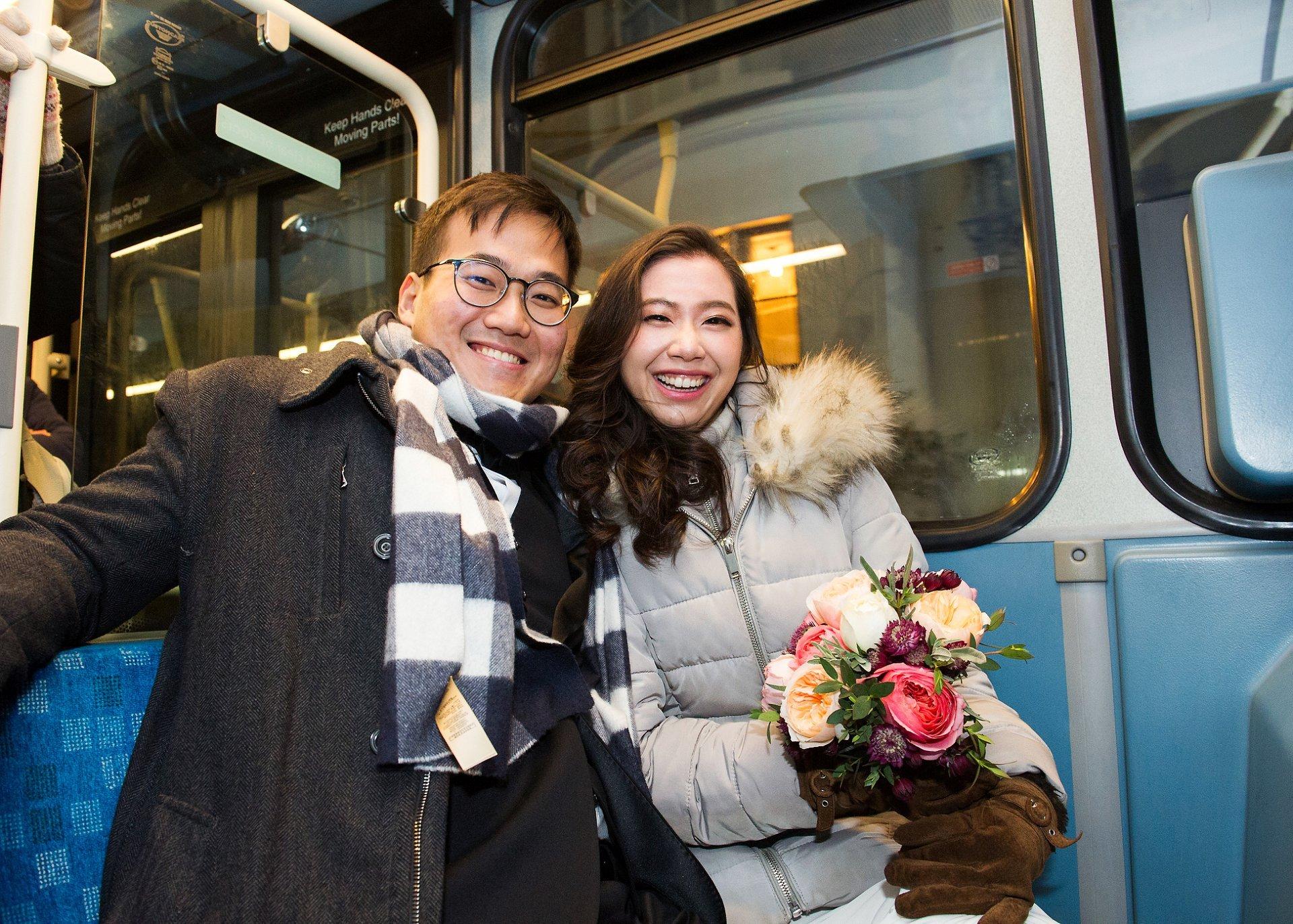 London bus wedding photography bride and groom