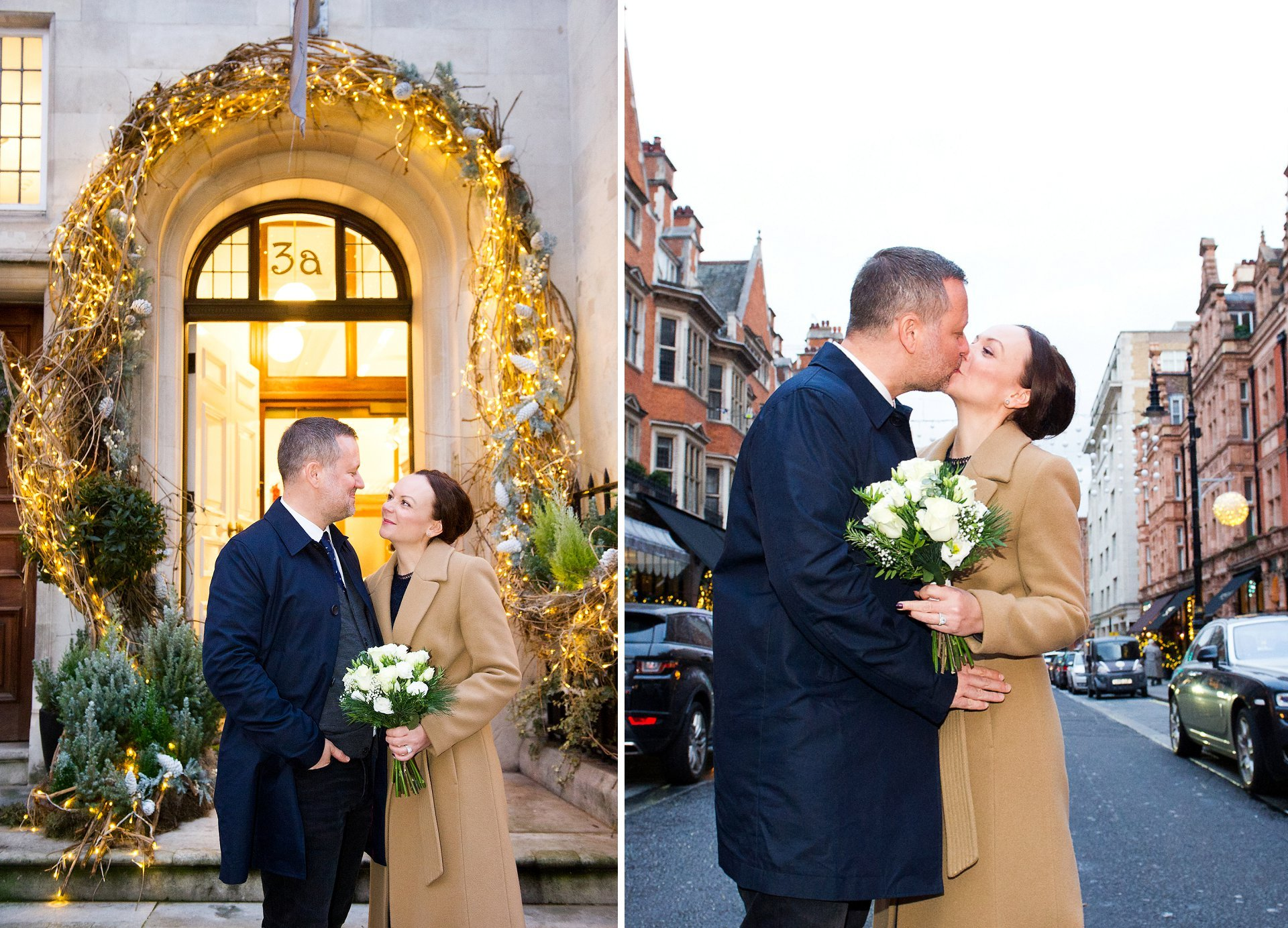london wedding photography at dusk in mount street, mayfair