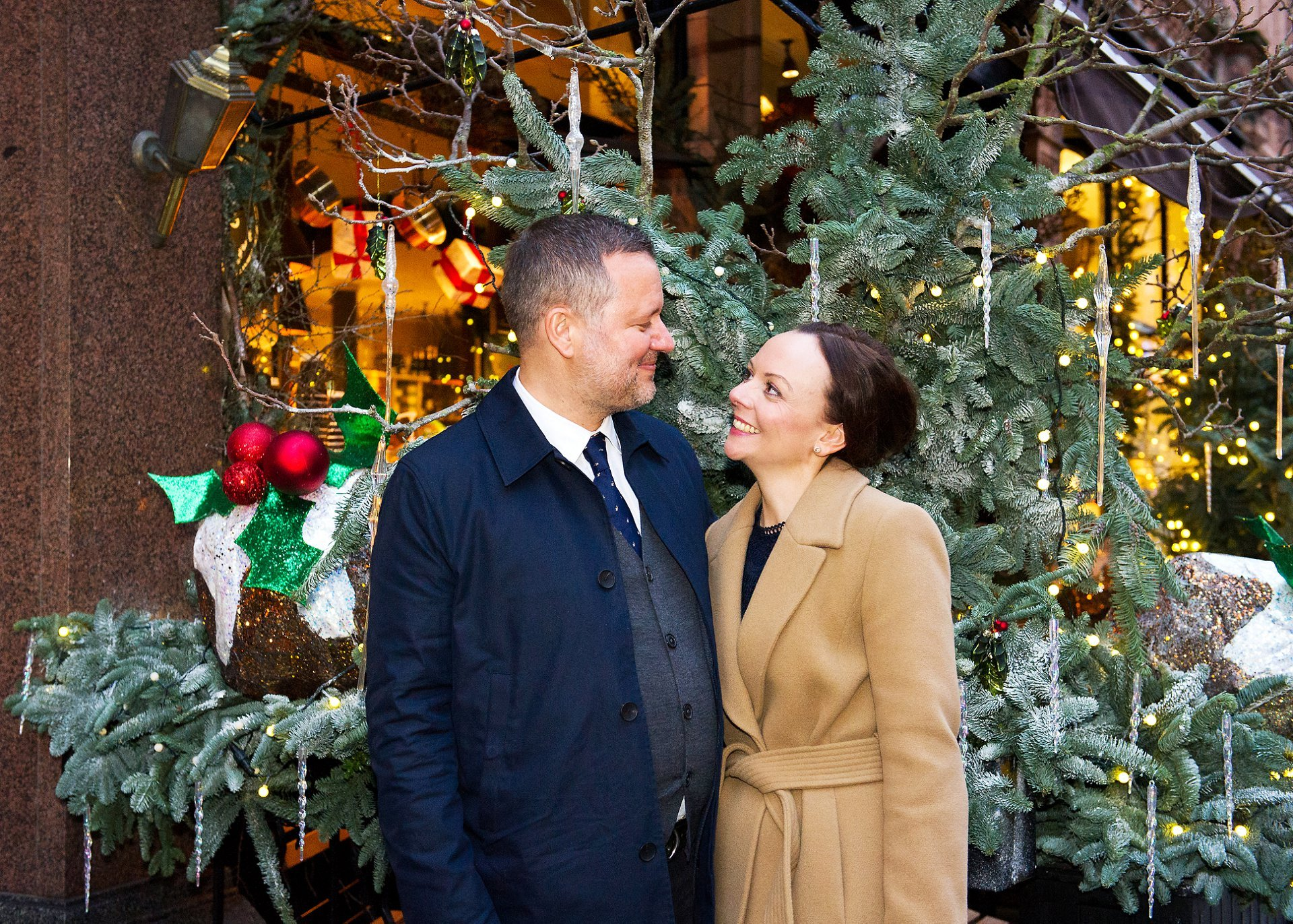 a couple celebrate their mount street mayfair christmas wedding