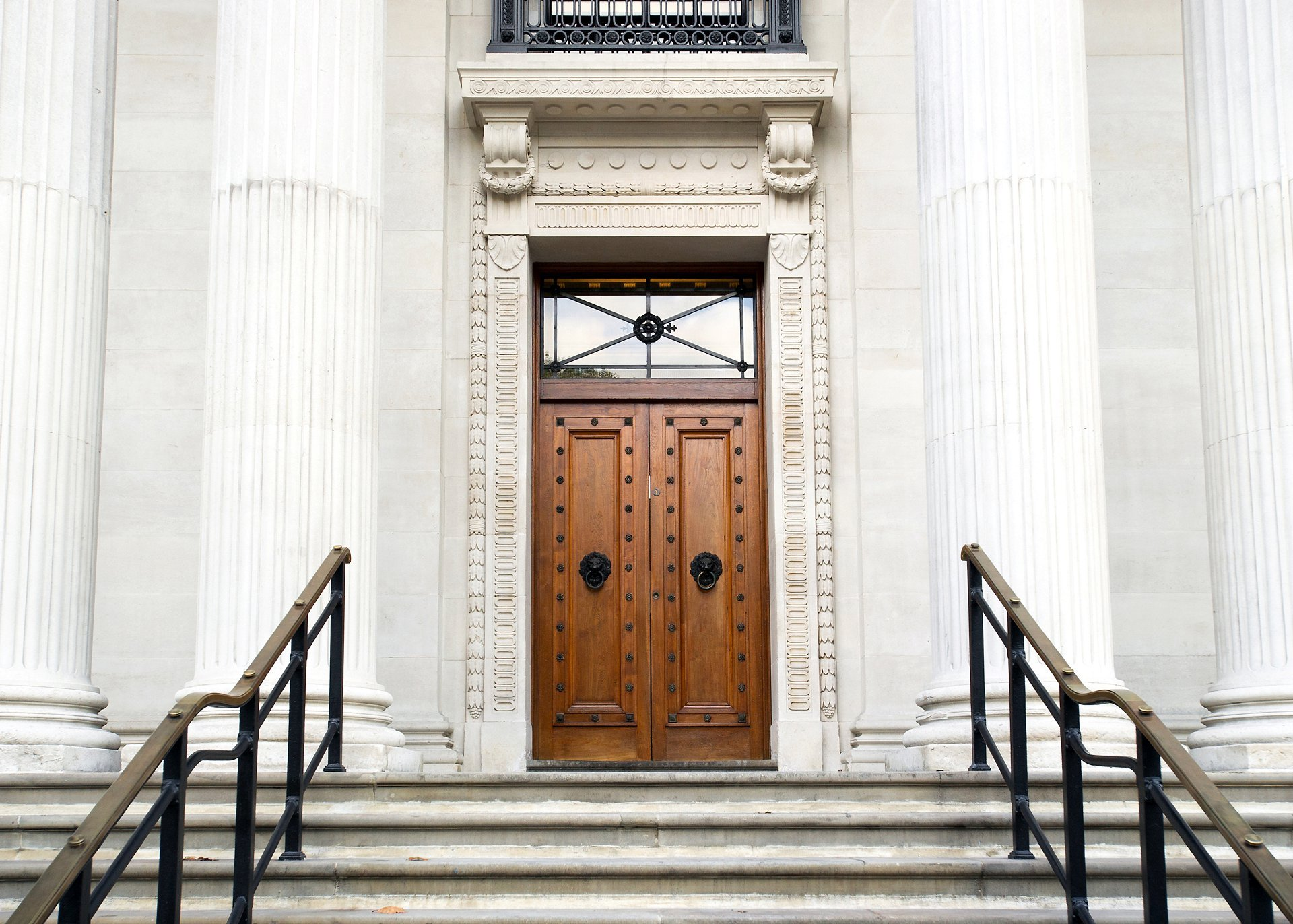 Old Marylebone Town Hall main steps leading to wooden doors after major refurbishments in 2017