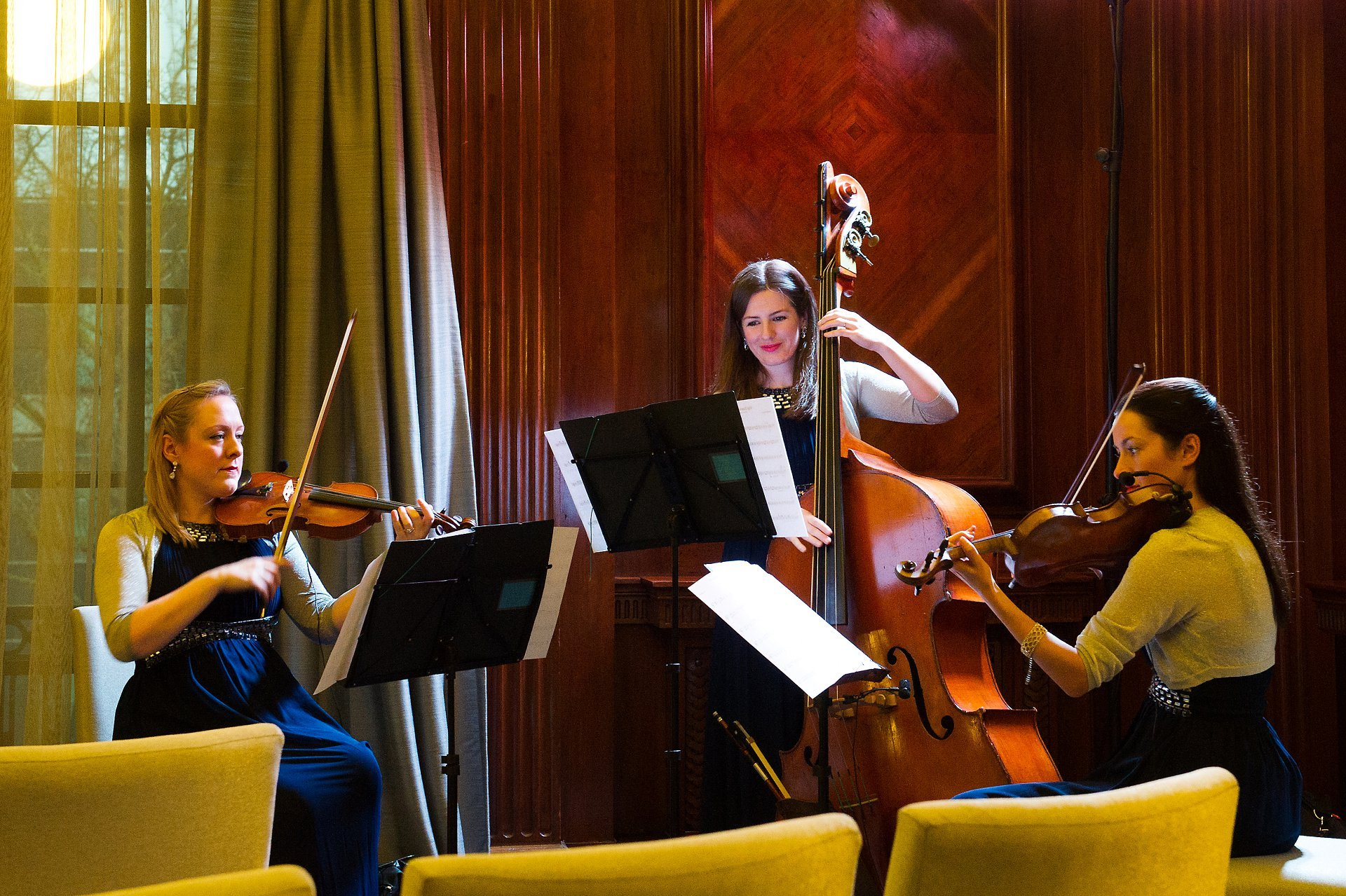 Old Marylebone Town Hall reopening party with Blue Topaz Strings playing for guests