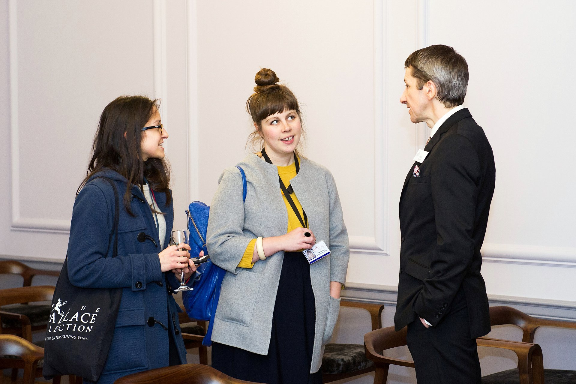Wedding suppliers talking to a Registrar (Mark) during the grand reopening on Thursday 11th January 2018 of the Old Marylebone Town Hall