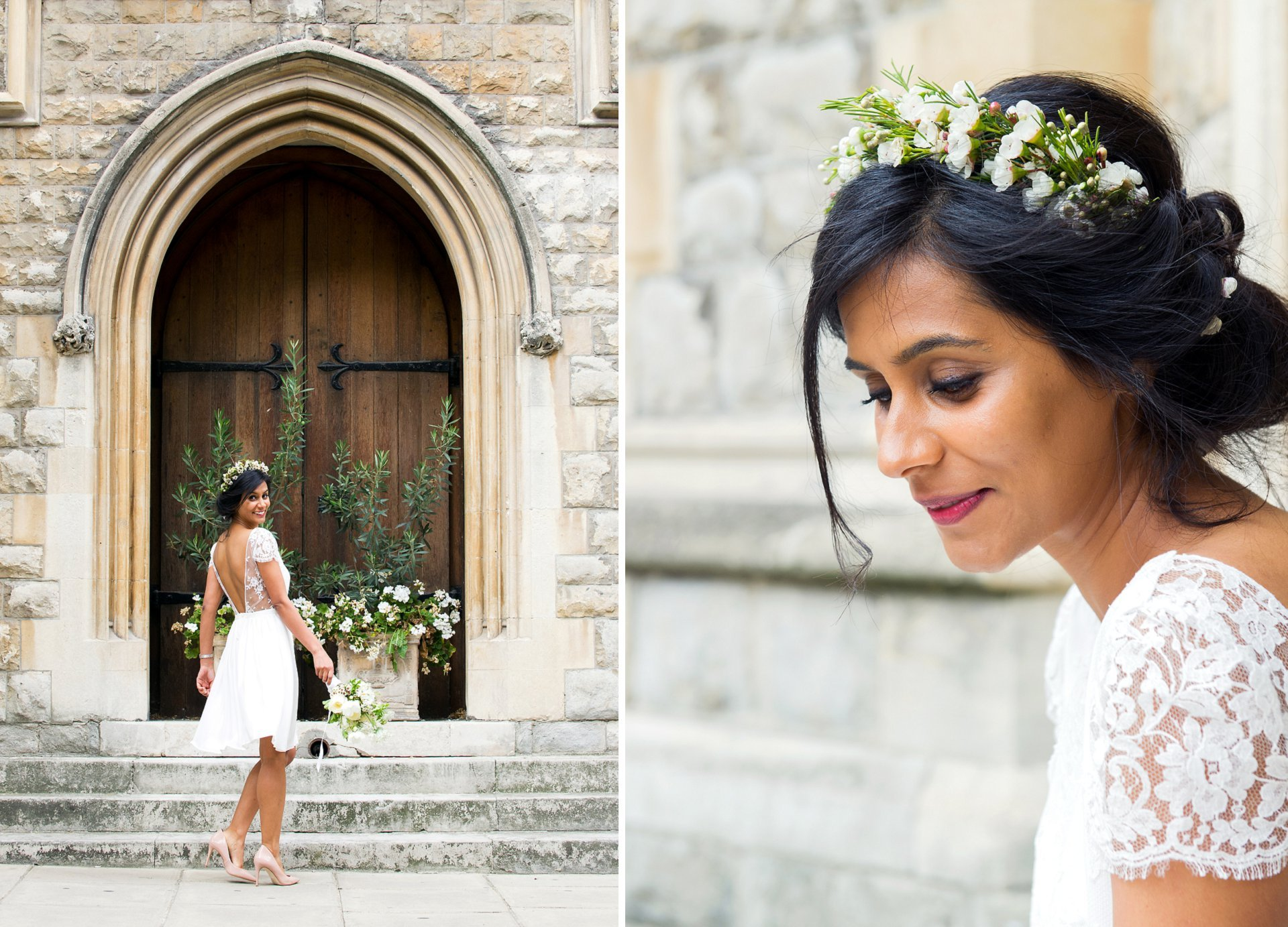 a london bride wearing french wedding dress designer laure de sagazan (paris)