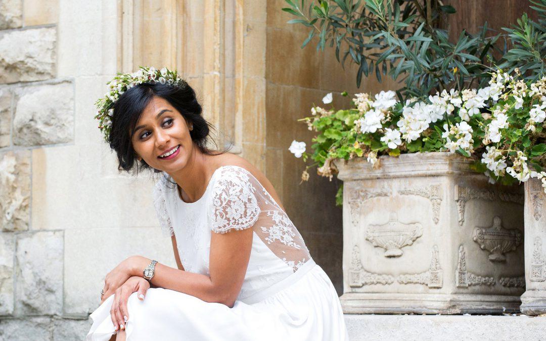 bride wearing a laure de sagazan wedding dress in mayfair, london