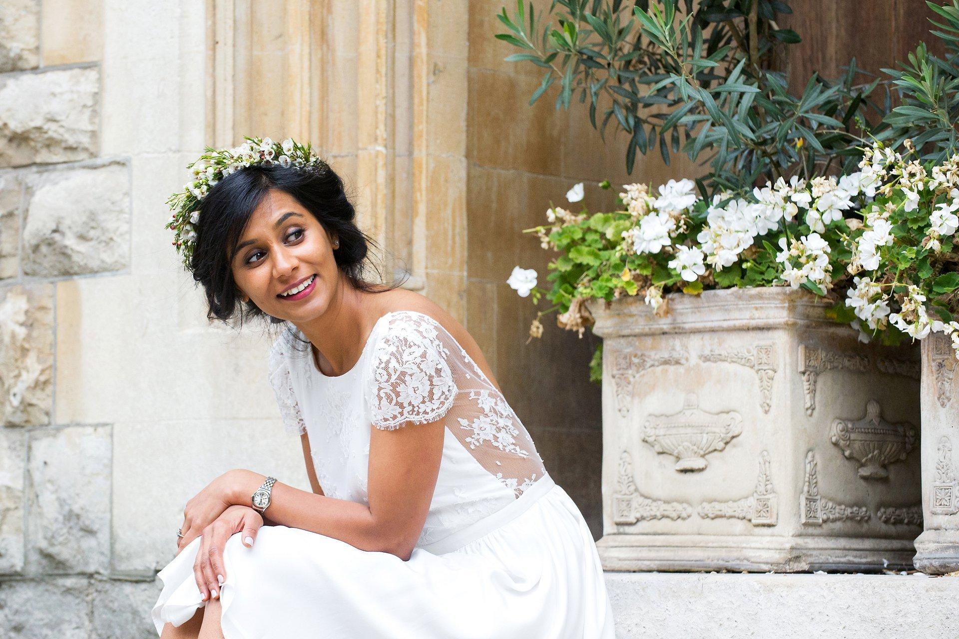 bride wearing a laure de sagazan wedding dress mayfair london