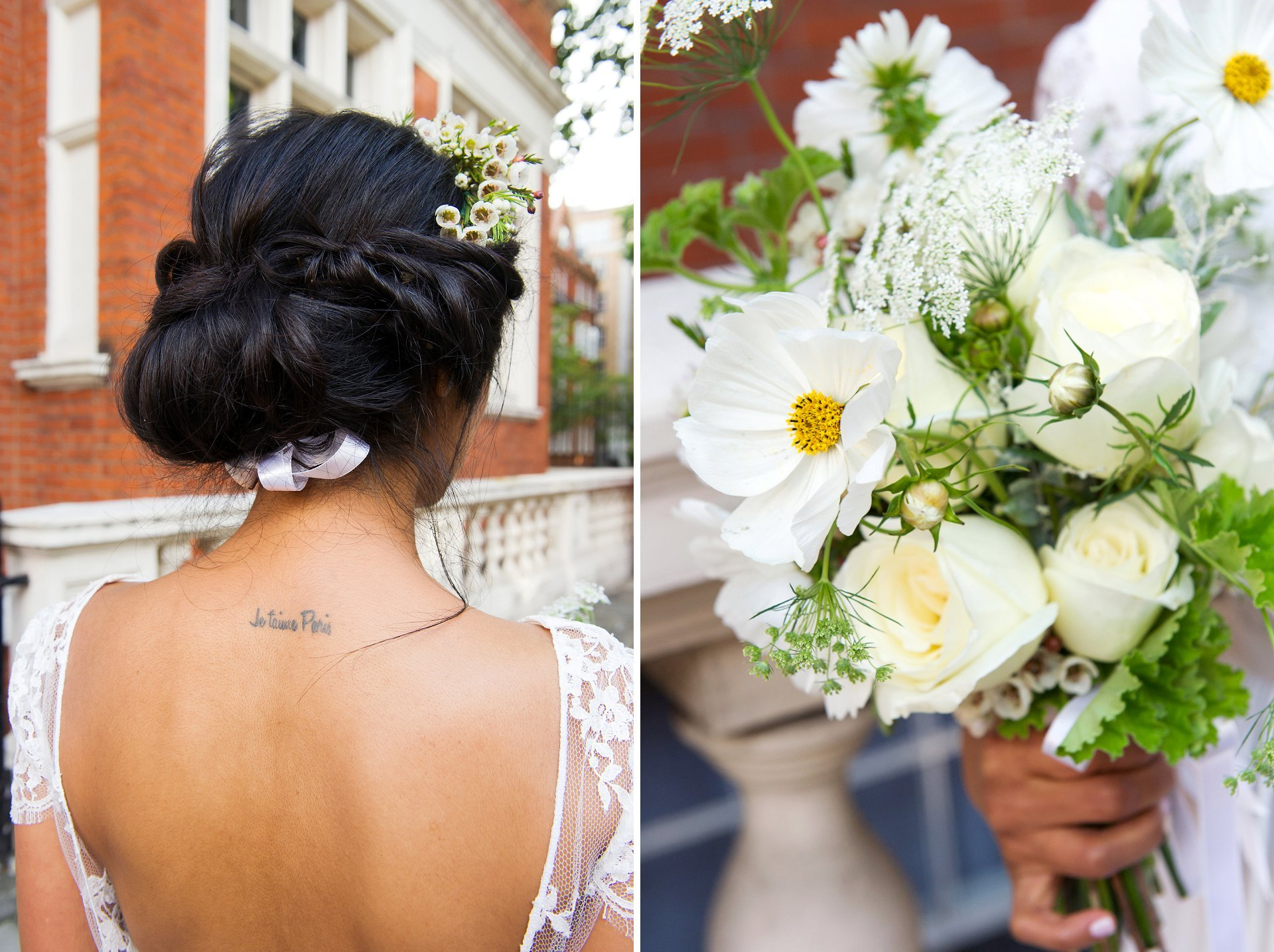bride with tatoo and loose flower bouquet for french style wedding westminster register office