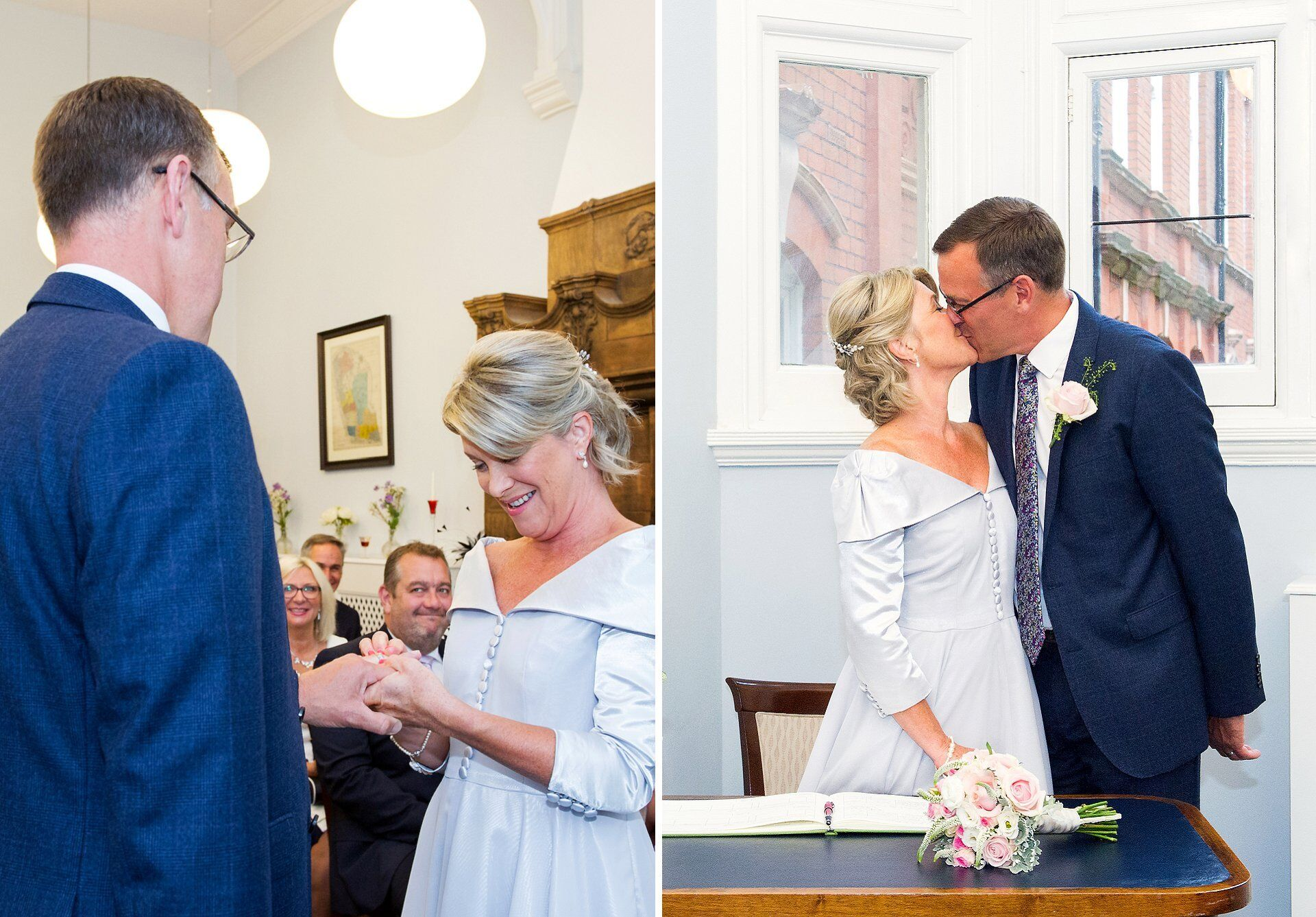 exchange of rings and kiss old marylebone town hall wedding photographer