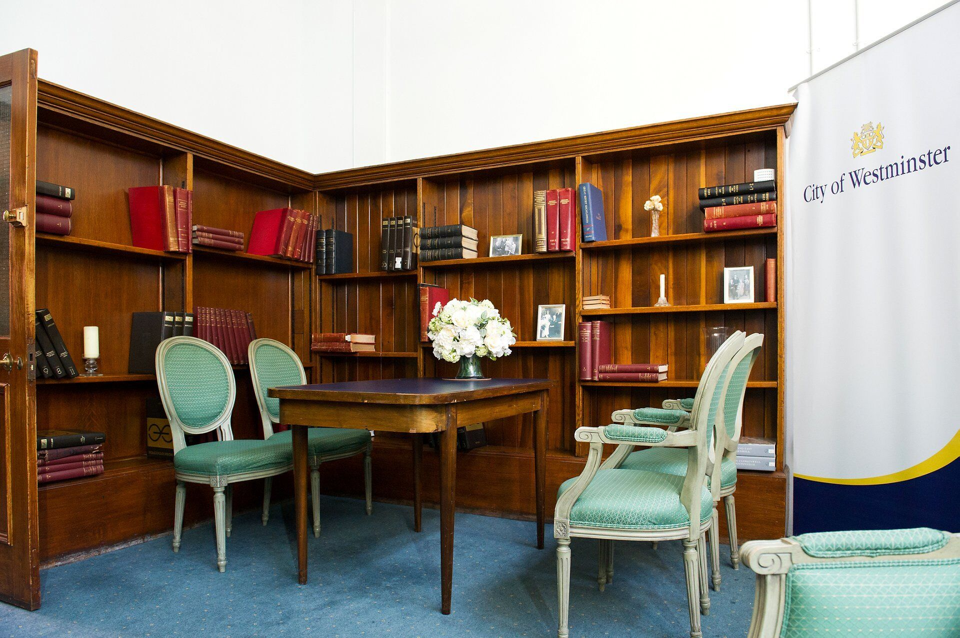 Elizabeth Barrett pre ceremony interview room at mayfair library for brides and grooms marrying at westminster register office
