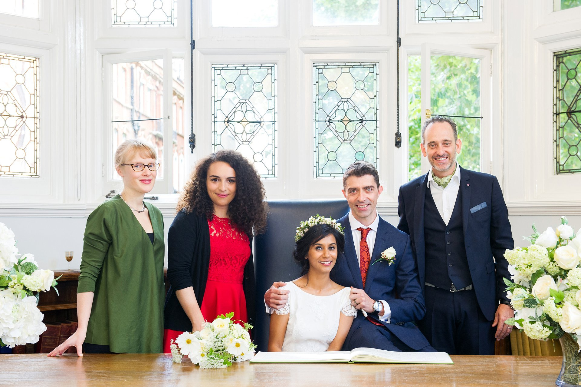 register office wedding photography showing bride and groom with their witnesses