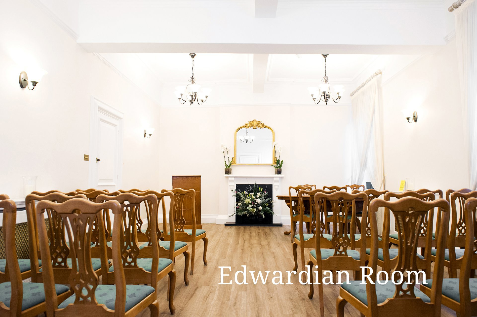The Edwardian Room at Woolwich Town Hall seats up to 36 guests