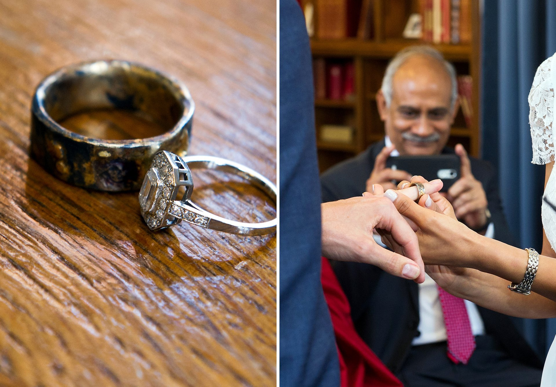 wedding rings and father taking photographs of his daughter during this wedding in south audley street mayfair