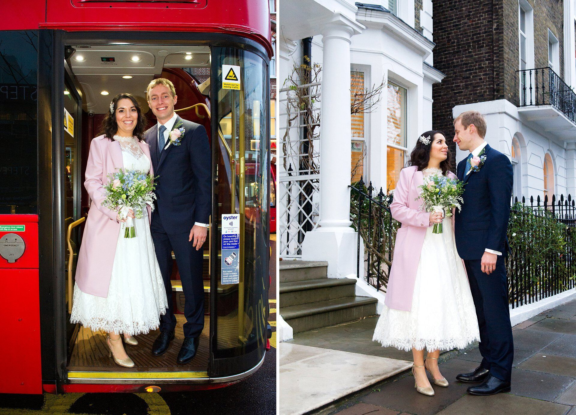 bride adn groom on the king's road in chelsea london bus and chelsea stucco buildings