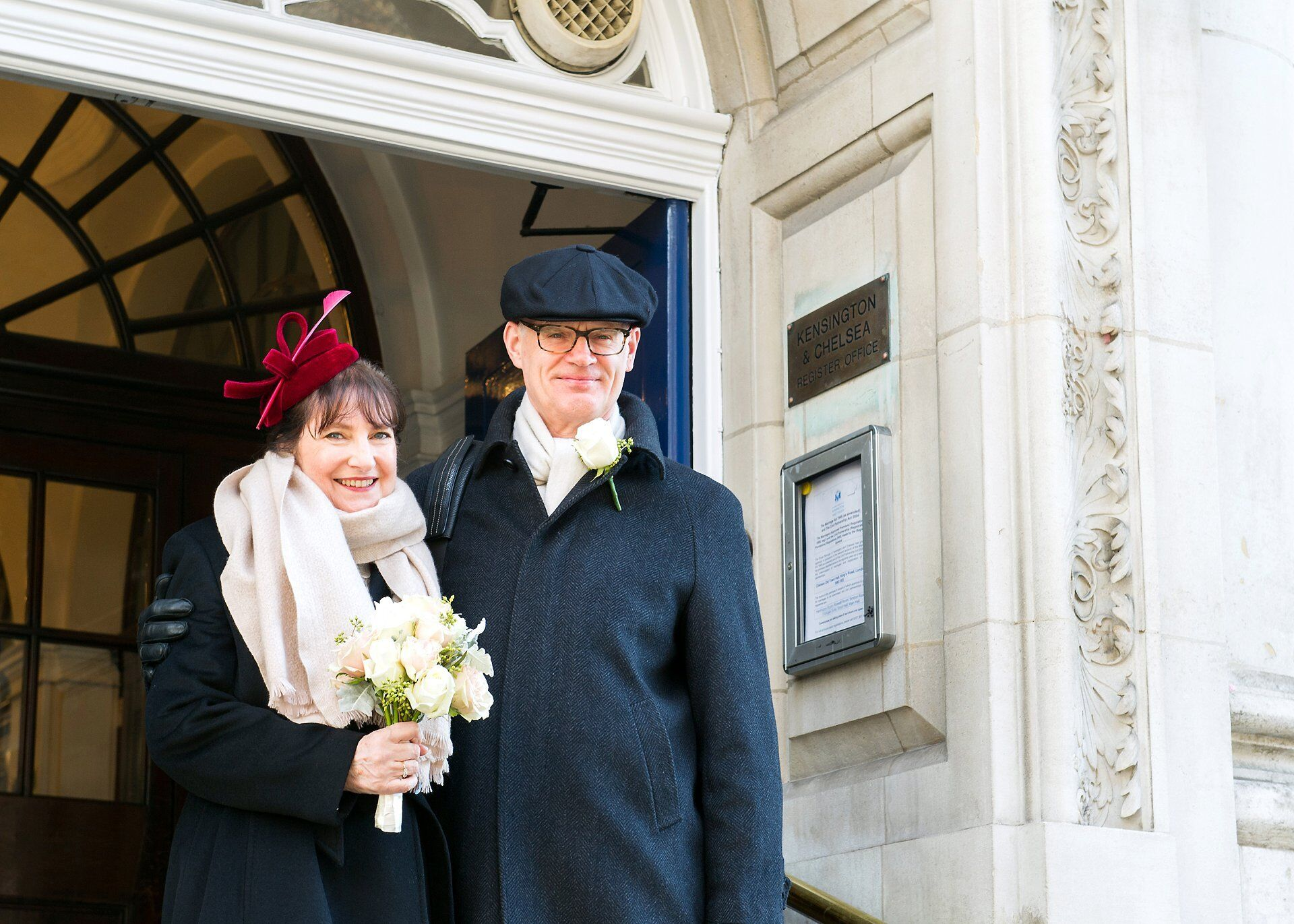 bride and groom winter wedding chelsea old town hall
