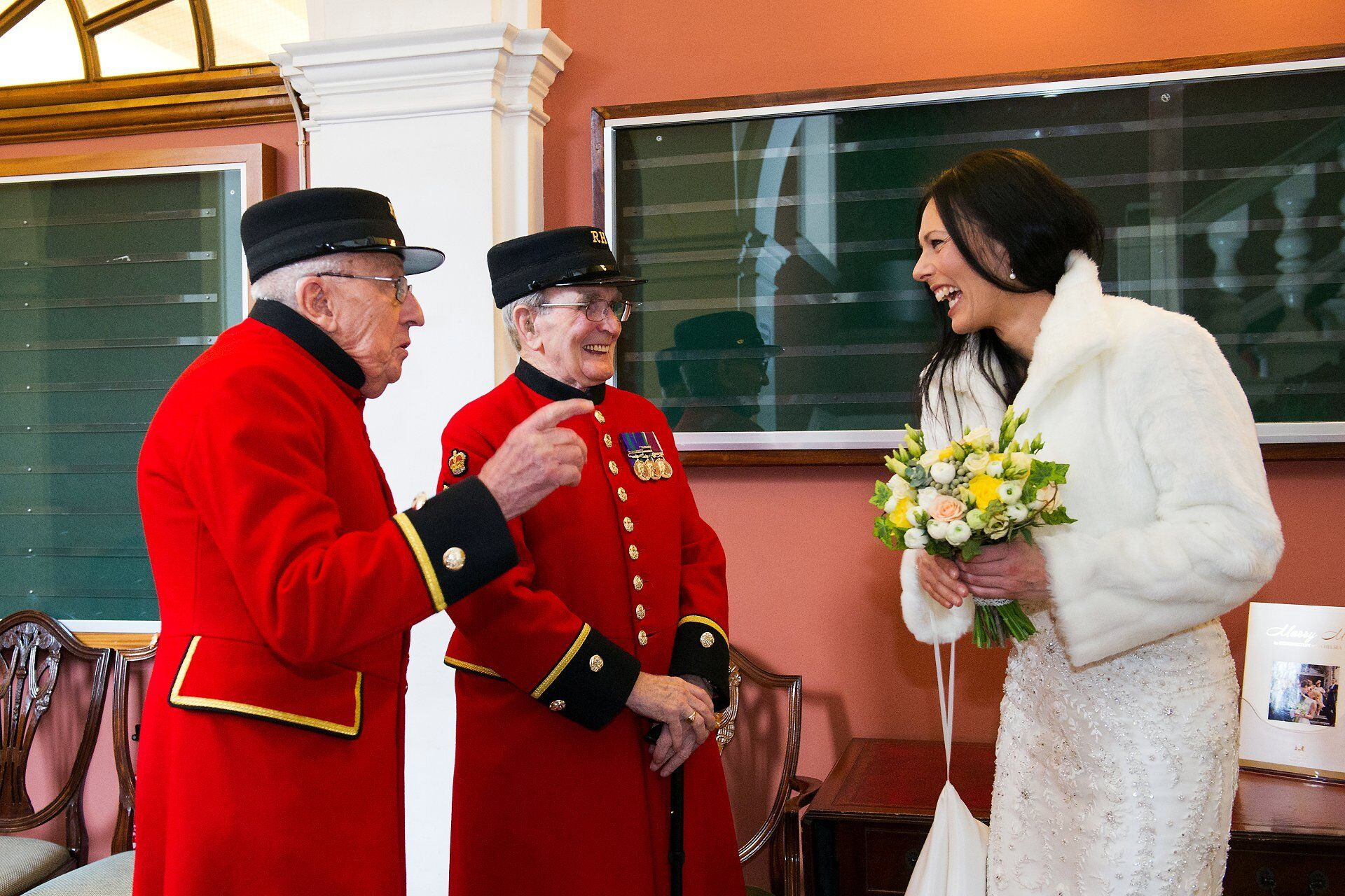 chelsea pensioners at chelsea old town hall wedding