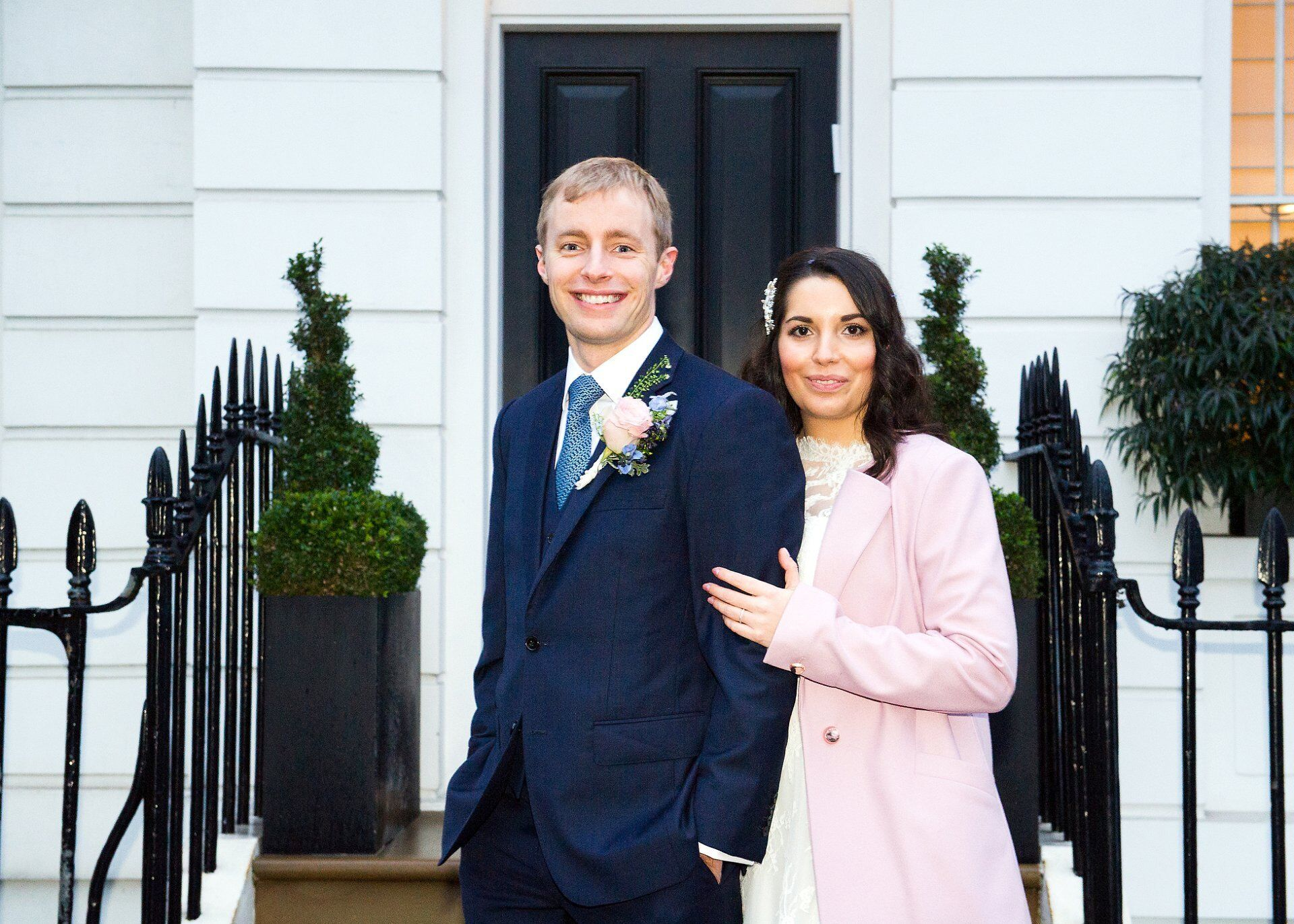 couple in chelsea after their chelsea old town hall winter wedding