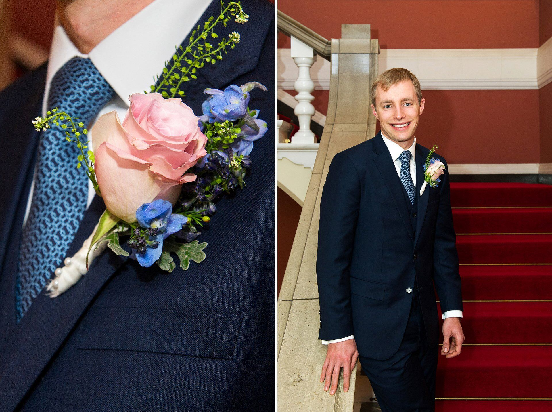 groom at chelsea old town hall with rose delphinium button hole