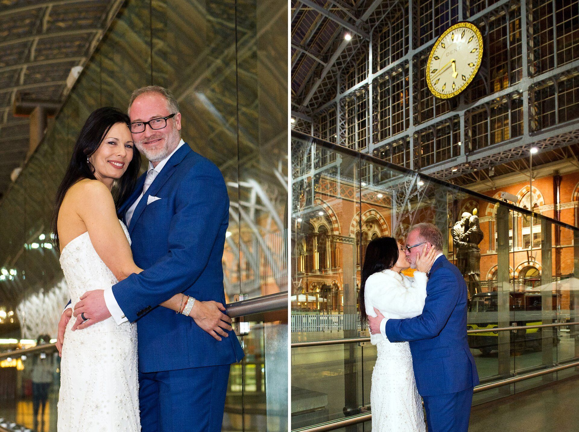 st pancras international wedding photography bride and groom mimic the kissing couple statue