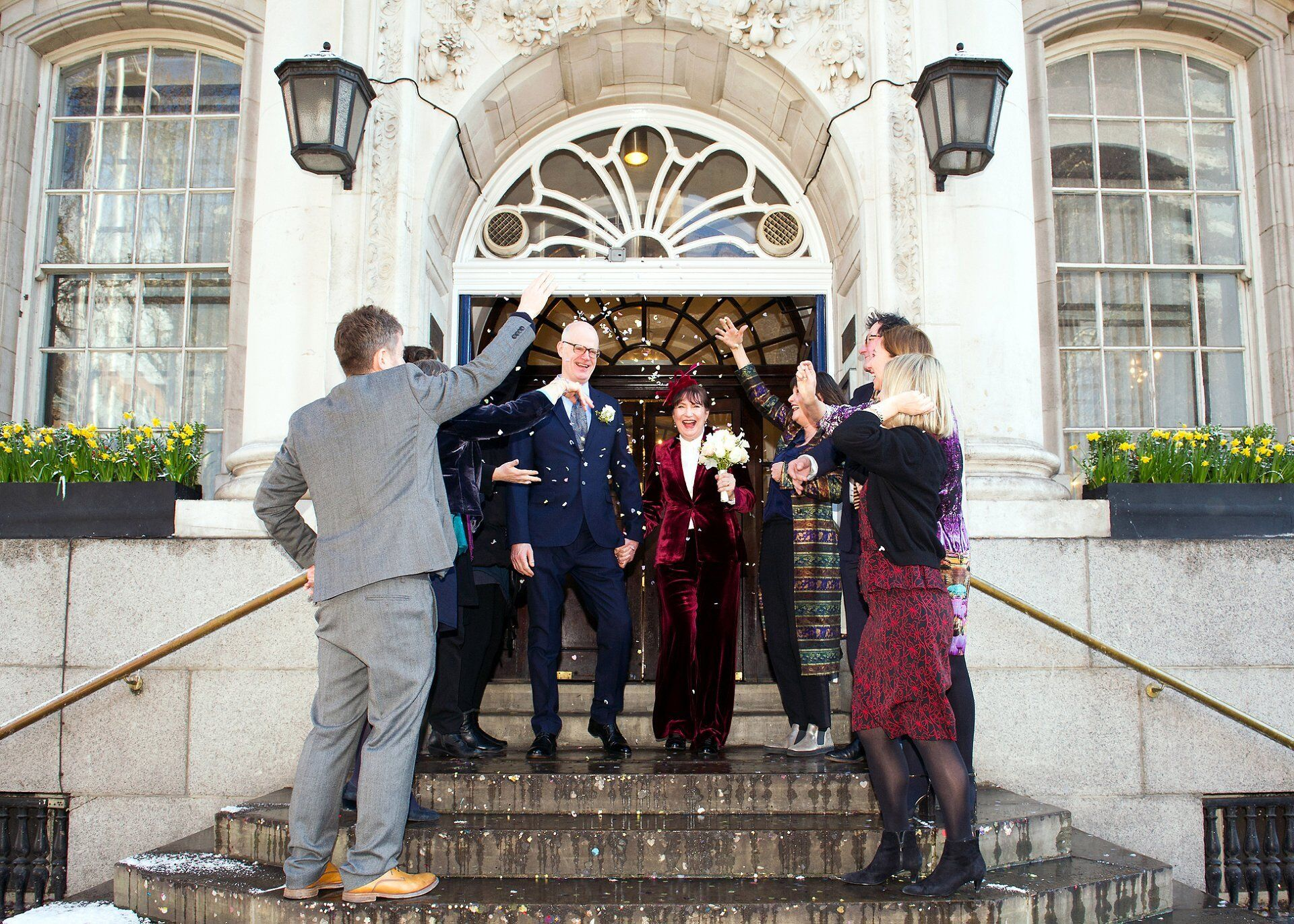 the phoenix pub chelsea wedding photographer emma duggan chelsea old town hall steps with confetti