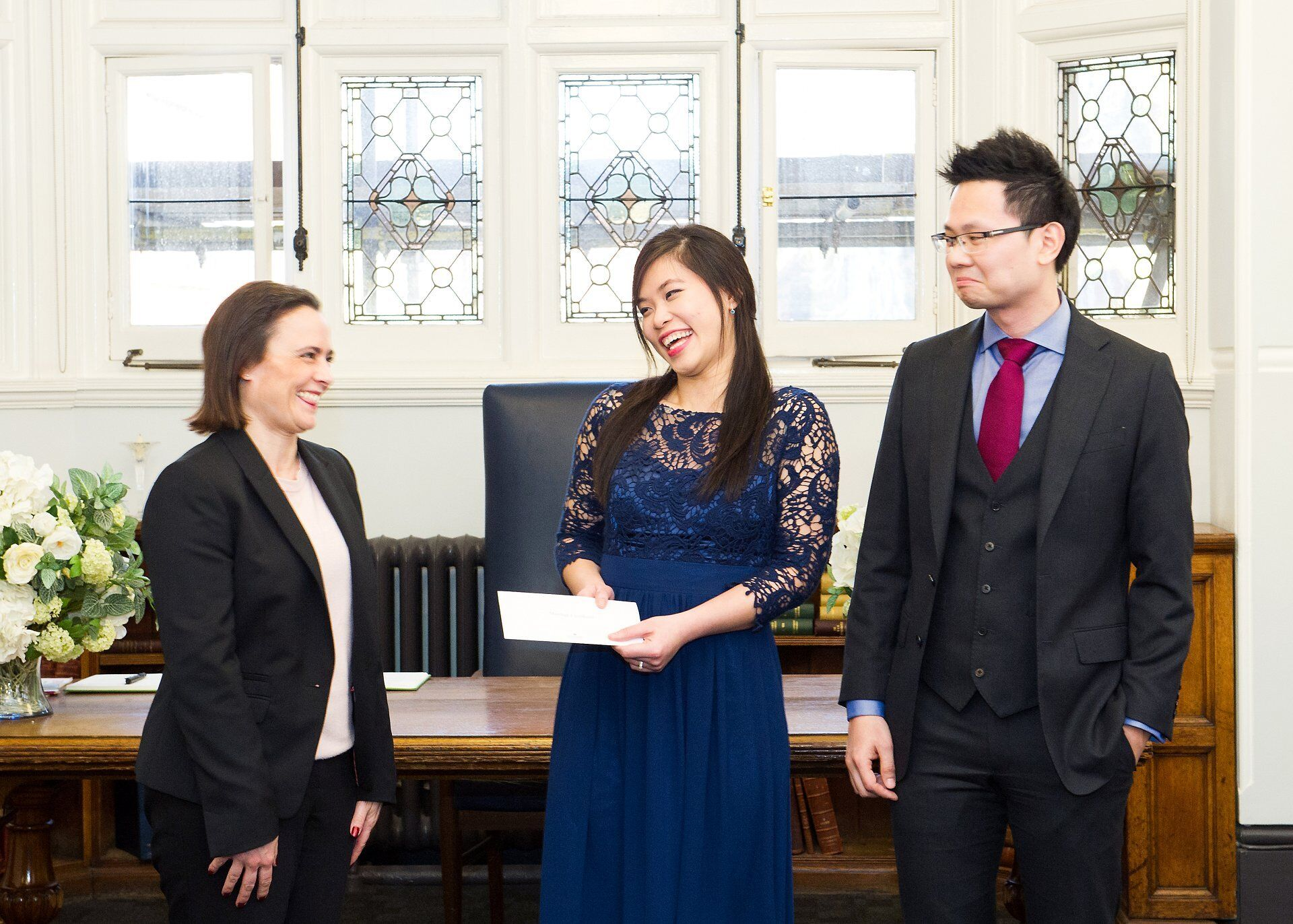 westminster registrar congratulates couple after their mayfair library spring wedding