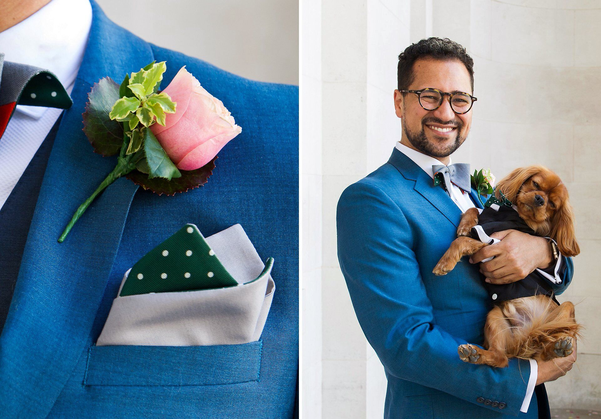 groom outside old marylebone town hall holding his puppy dog both wearing spotty bow tie by ian scott kettle (marylebone room wedding photography)