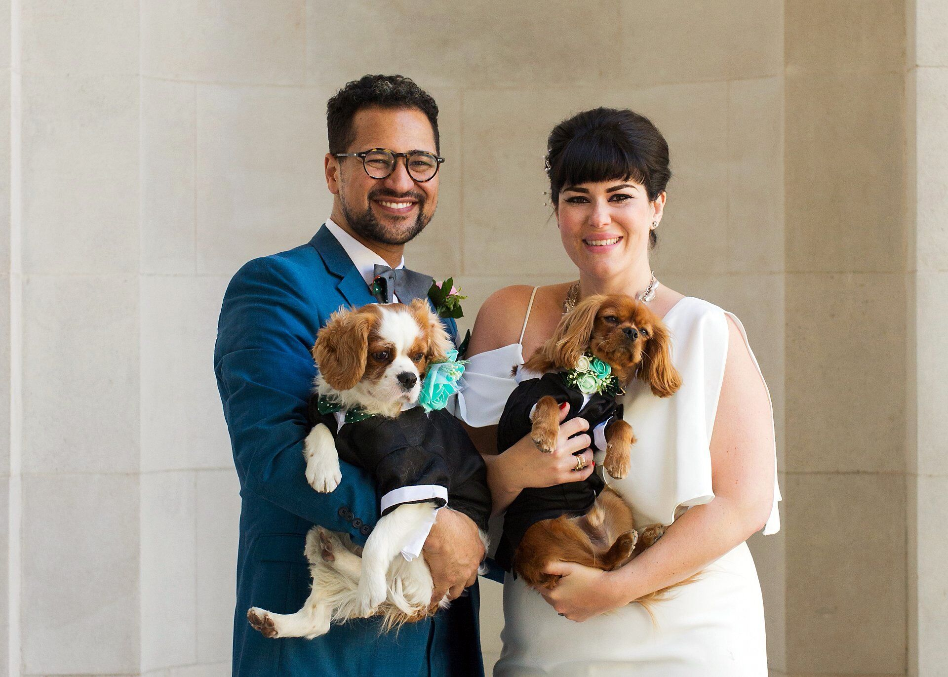 dogs wearing tuxedos at this stylish london wedding - old marylebone town hall (for wedding photography by the hour in the marylebone room)