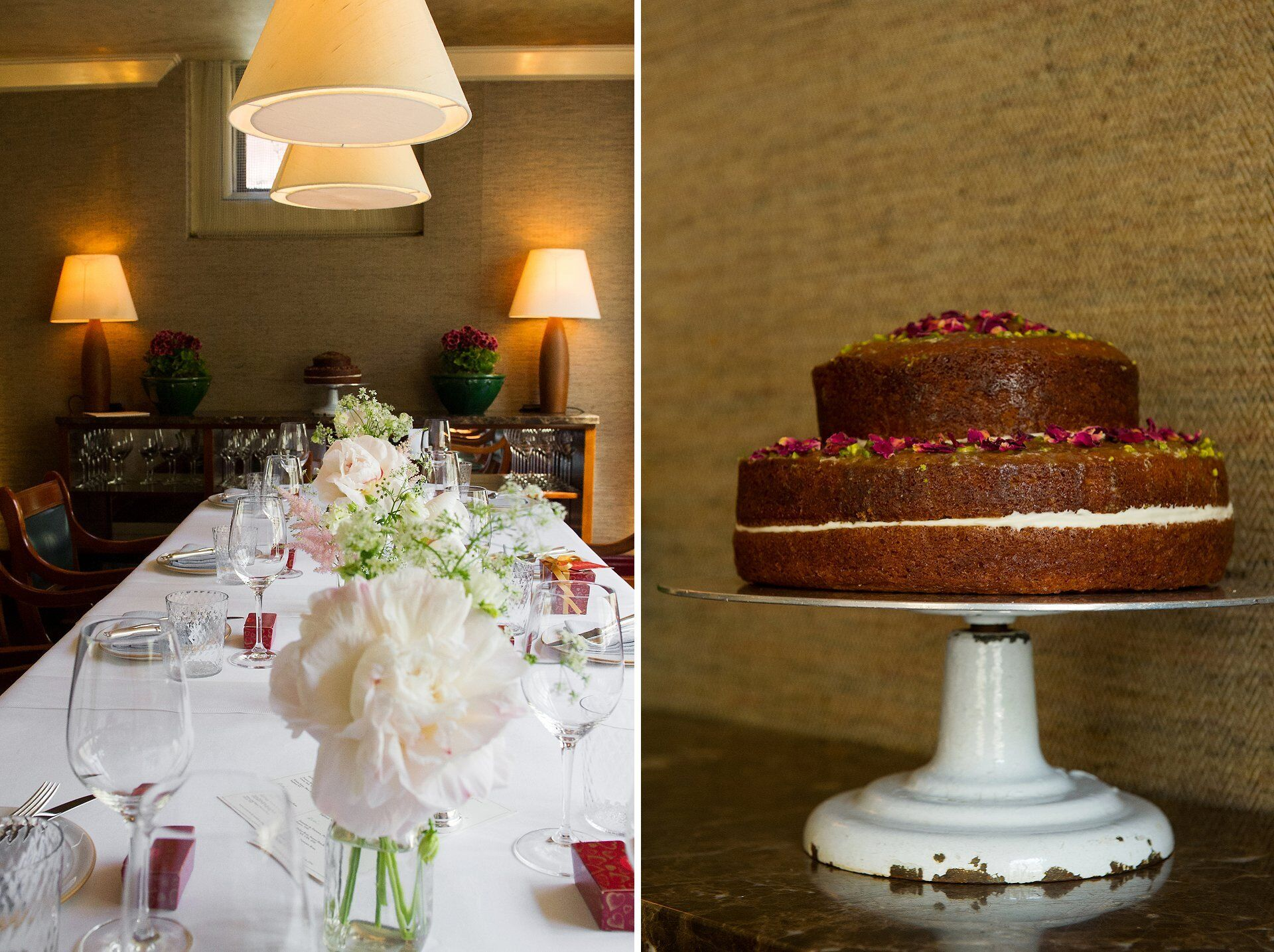 orange blossom and pistachio wedding cake made by Honeypie Bakery in Kensington London at chiltern firehouse for private dining wedding